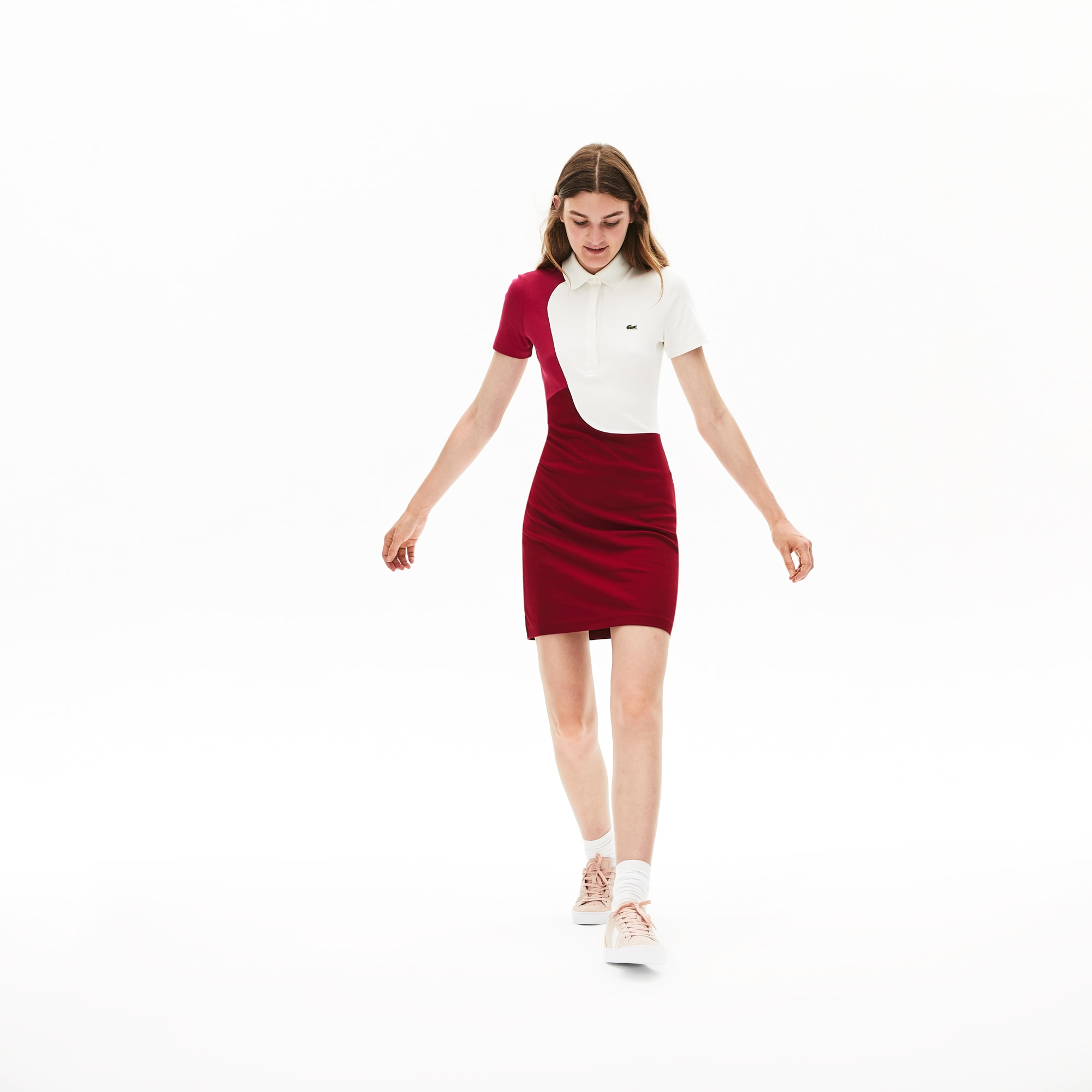 Women's Fitted Colourblock Cotton Polo Dress