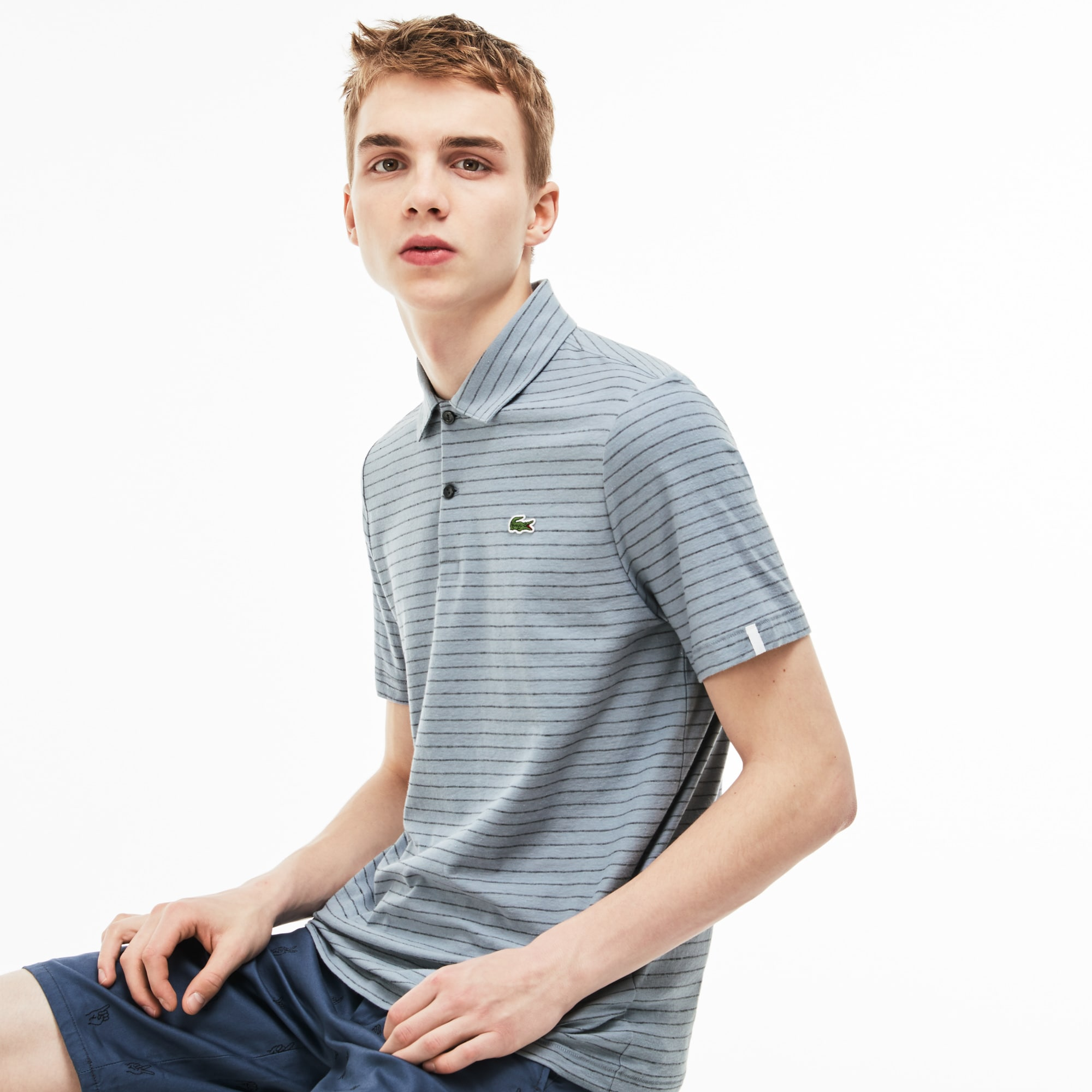Men's Lacoste LIVE Slim Fit Striped Linen and Cotton Jersey Polo