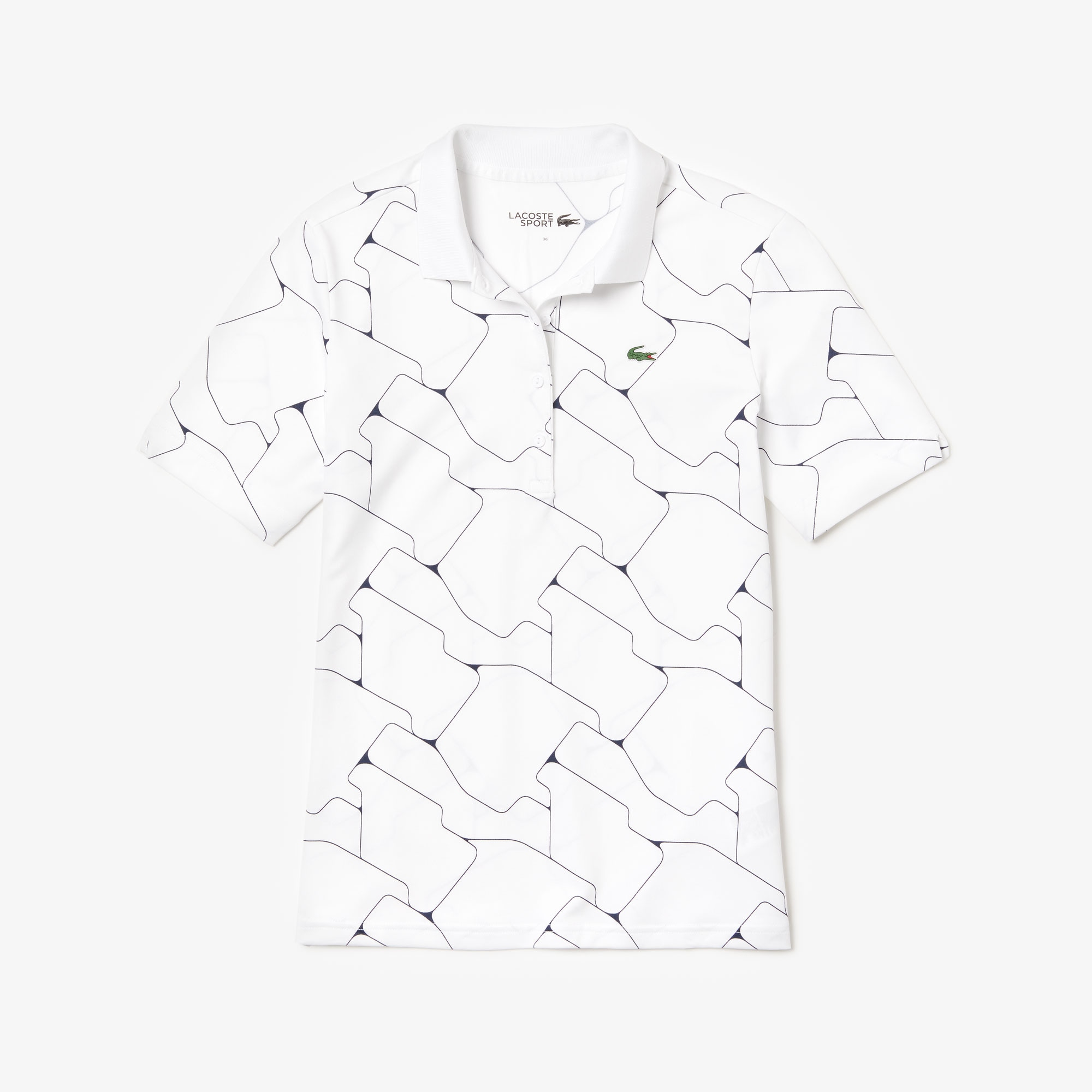 Women's Lacoste SPORT Print Breathable Stretch Jersey Golf Polo Shirt