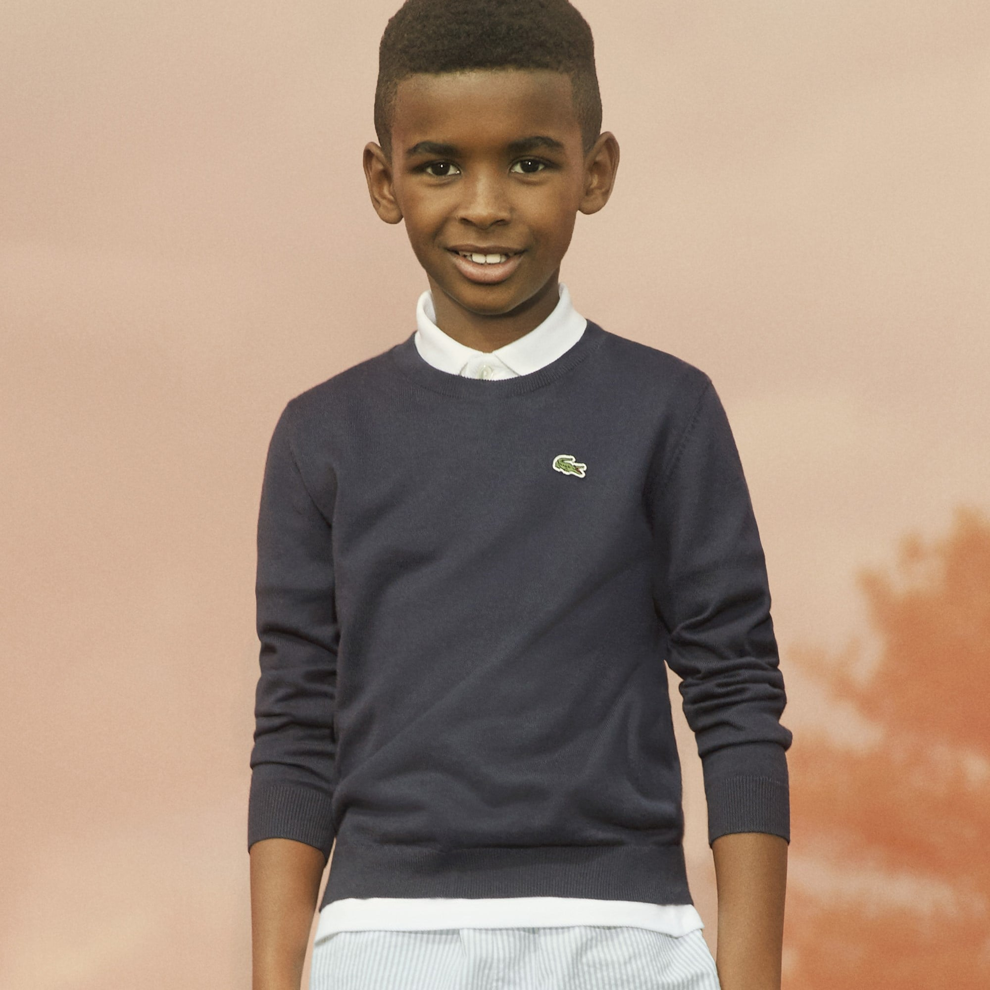 Boy's Crew Neck Cotton Jersey Sweater