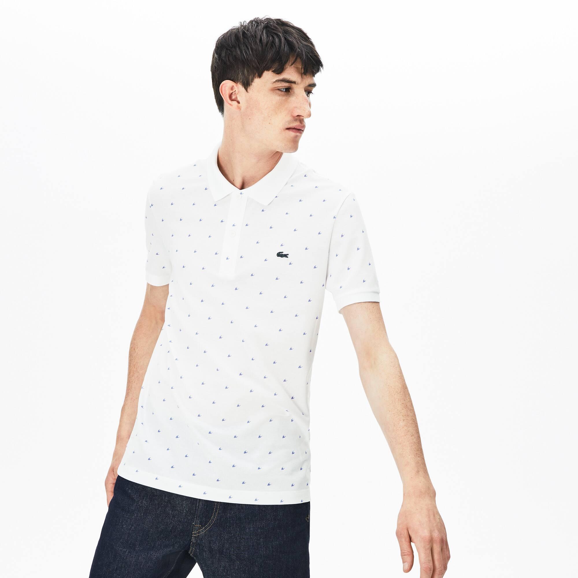 57f357ad5d Men's Lacoste Slim Fit Micro Patterned Cotton Mini Piqué Polo Shirt