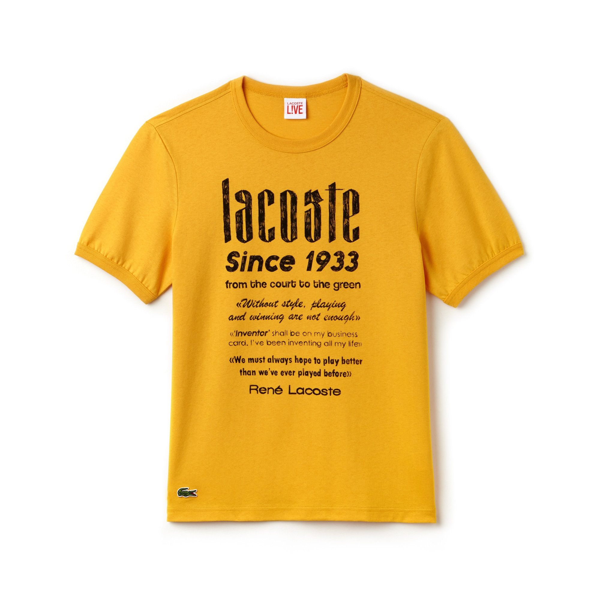 Men's Lacoste LIVE Crew Neck Heritage Print Cotton Jersey T-shirt
