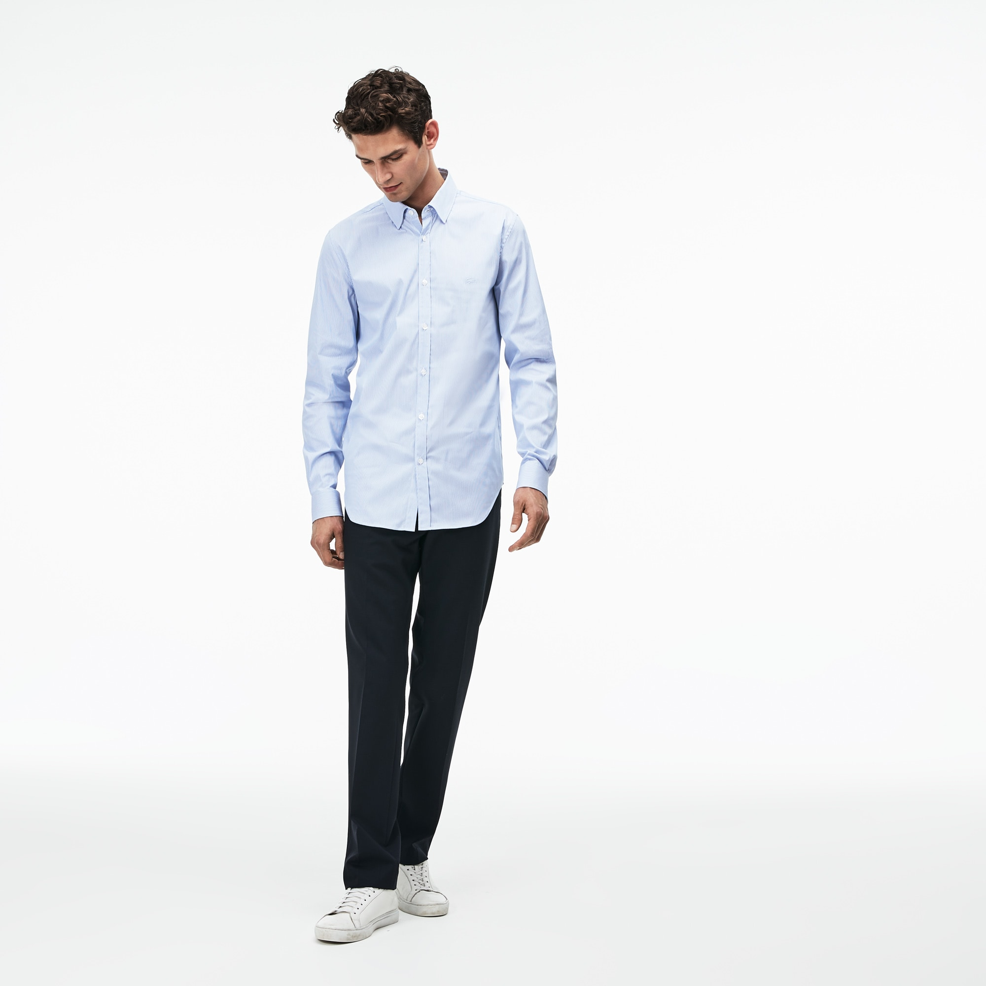 Men's Slim Fit Striped Stretch Cotton Poplin Shirt