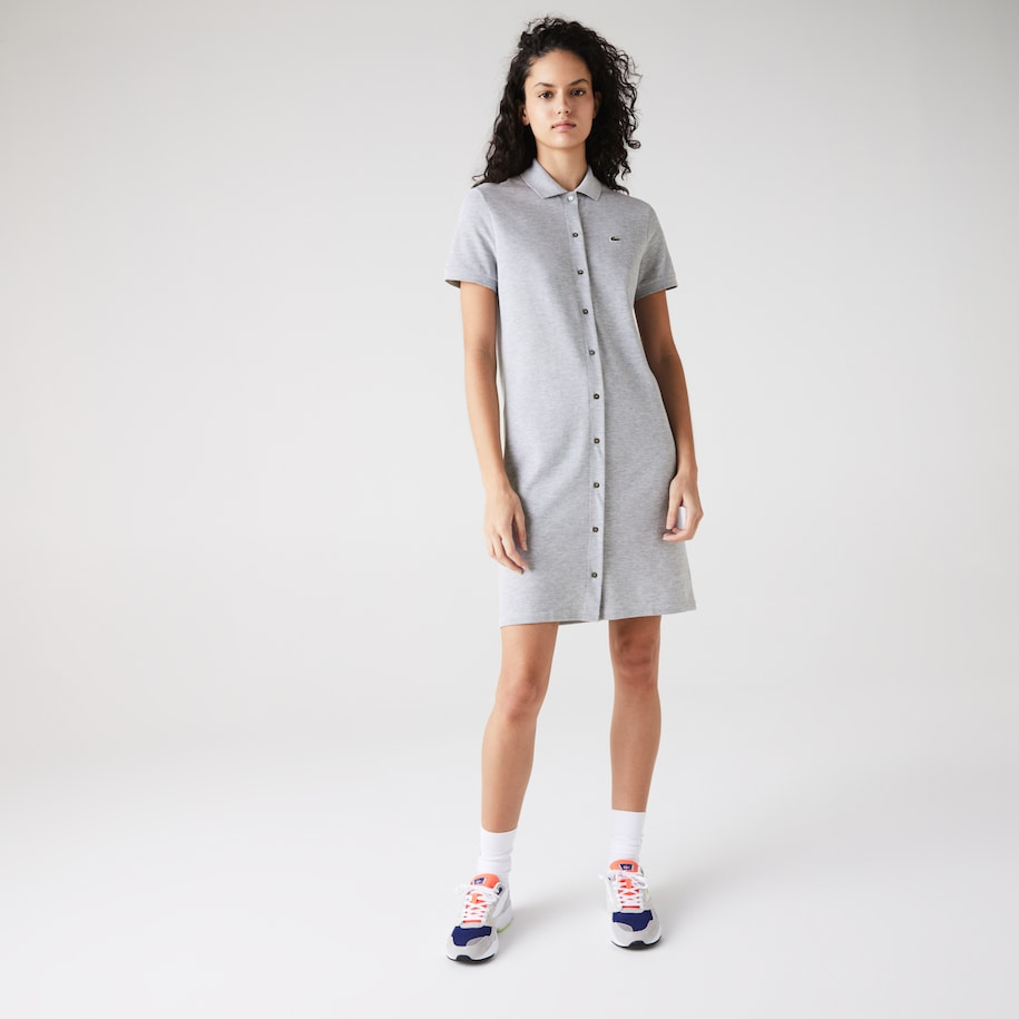 Women's Cotton Piqué Buttoned Polo Dress