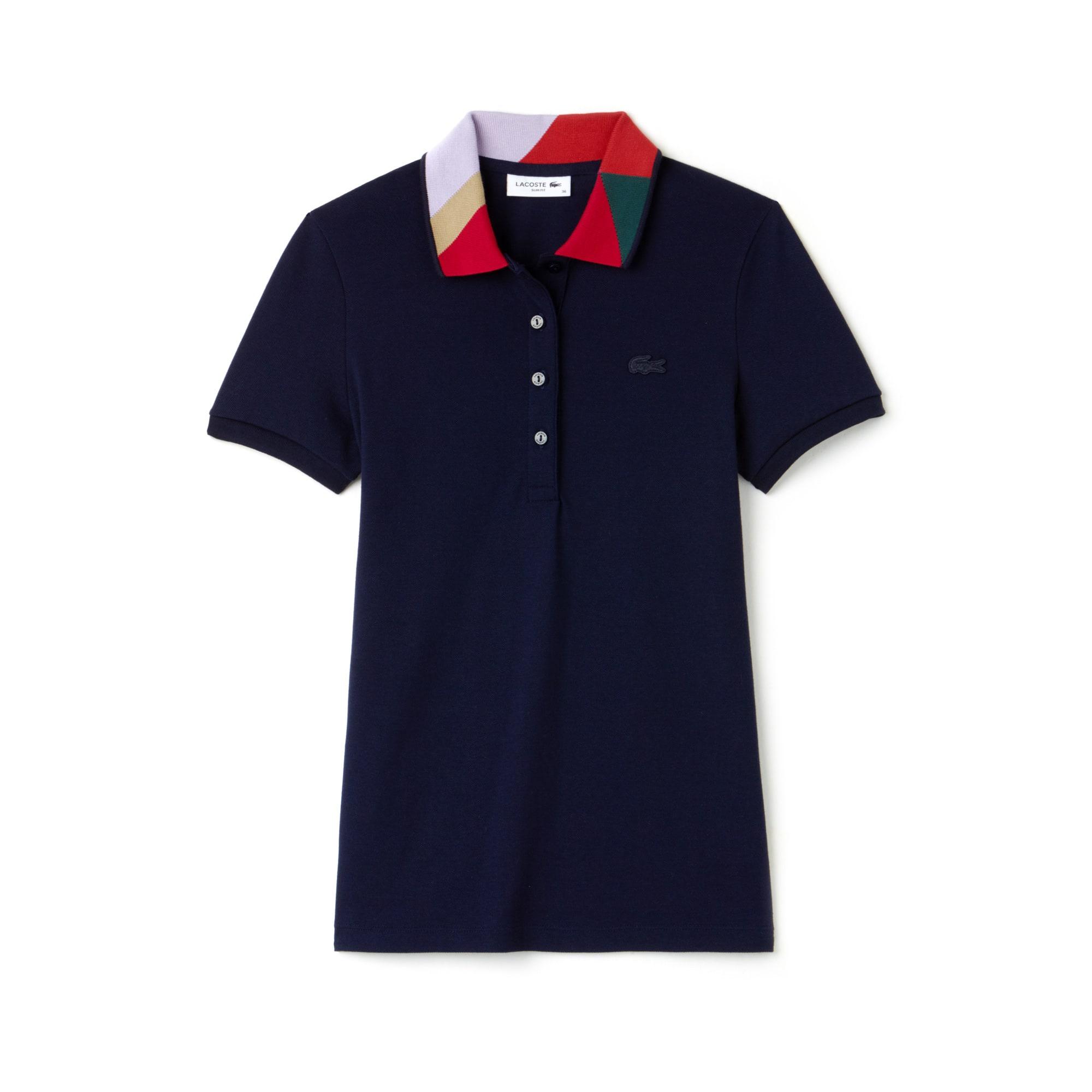 Women's Lacoste Slim Fit Colorblock Neck Stretch Mini Piqué Polo Shirt