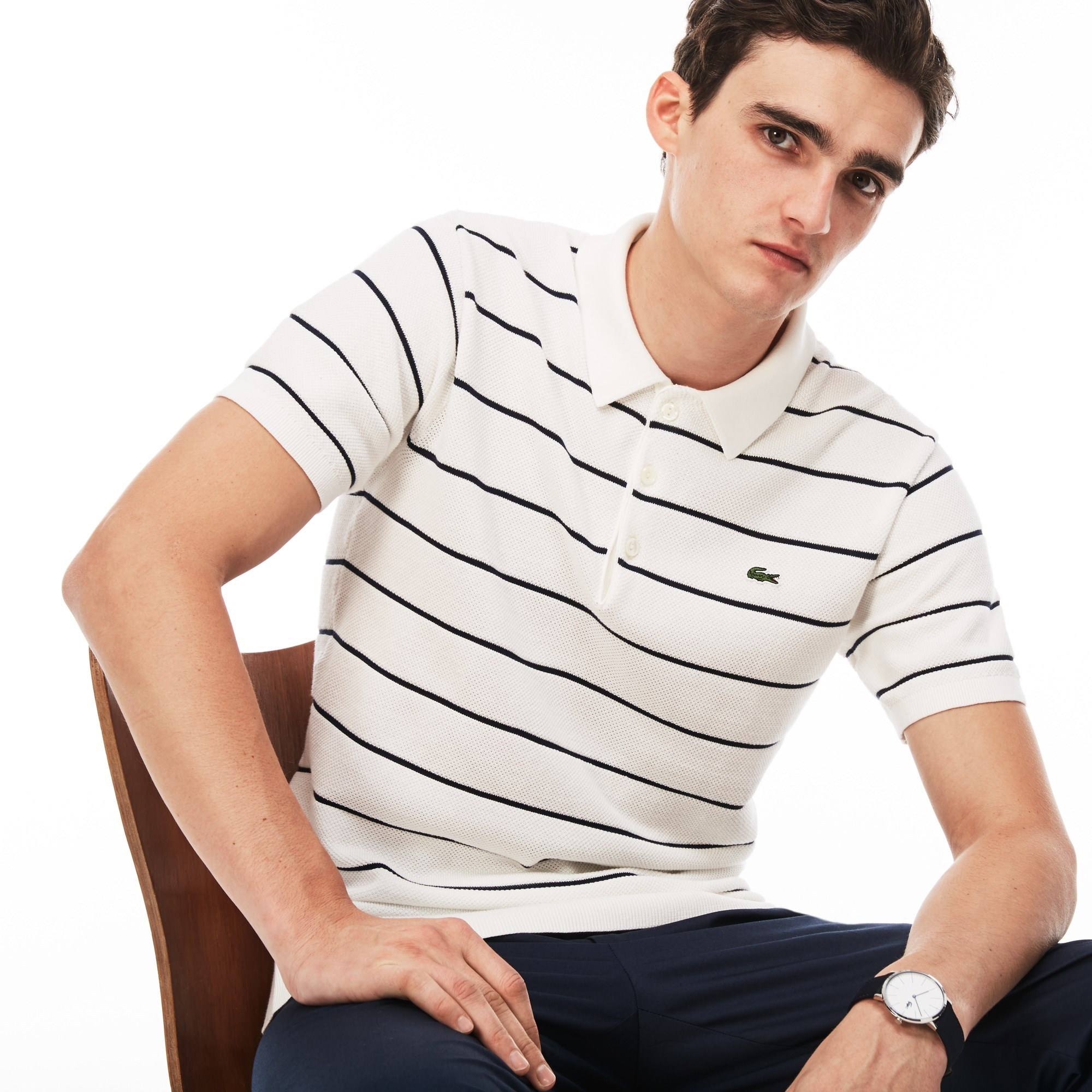 Men's Polo Collar Striped Jersey And Piqué Sweater