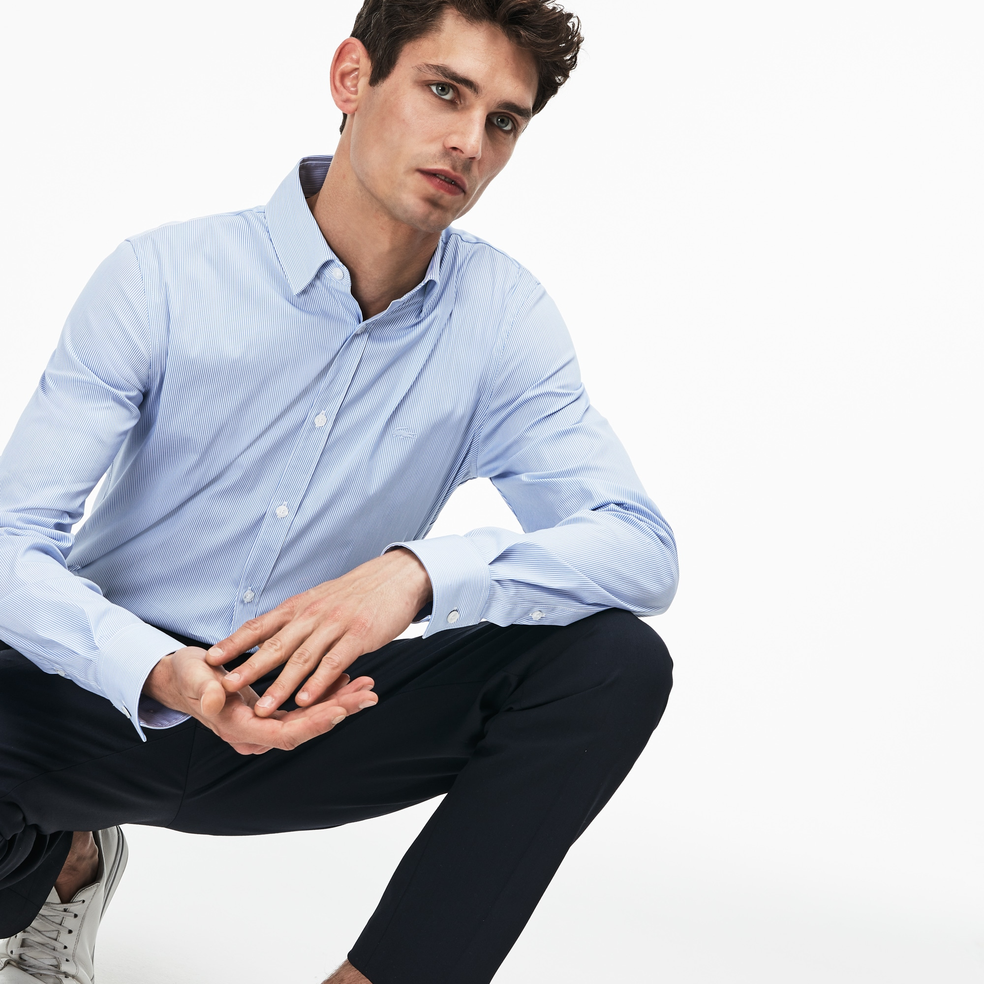cd0ec72b77fd Men s Slim Fit Striped Stretch Cotton Poplin Shirt. 125