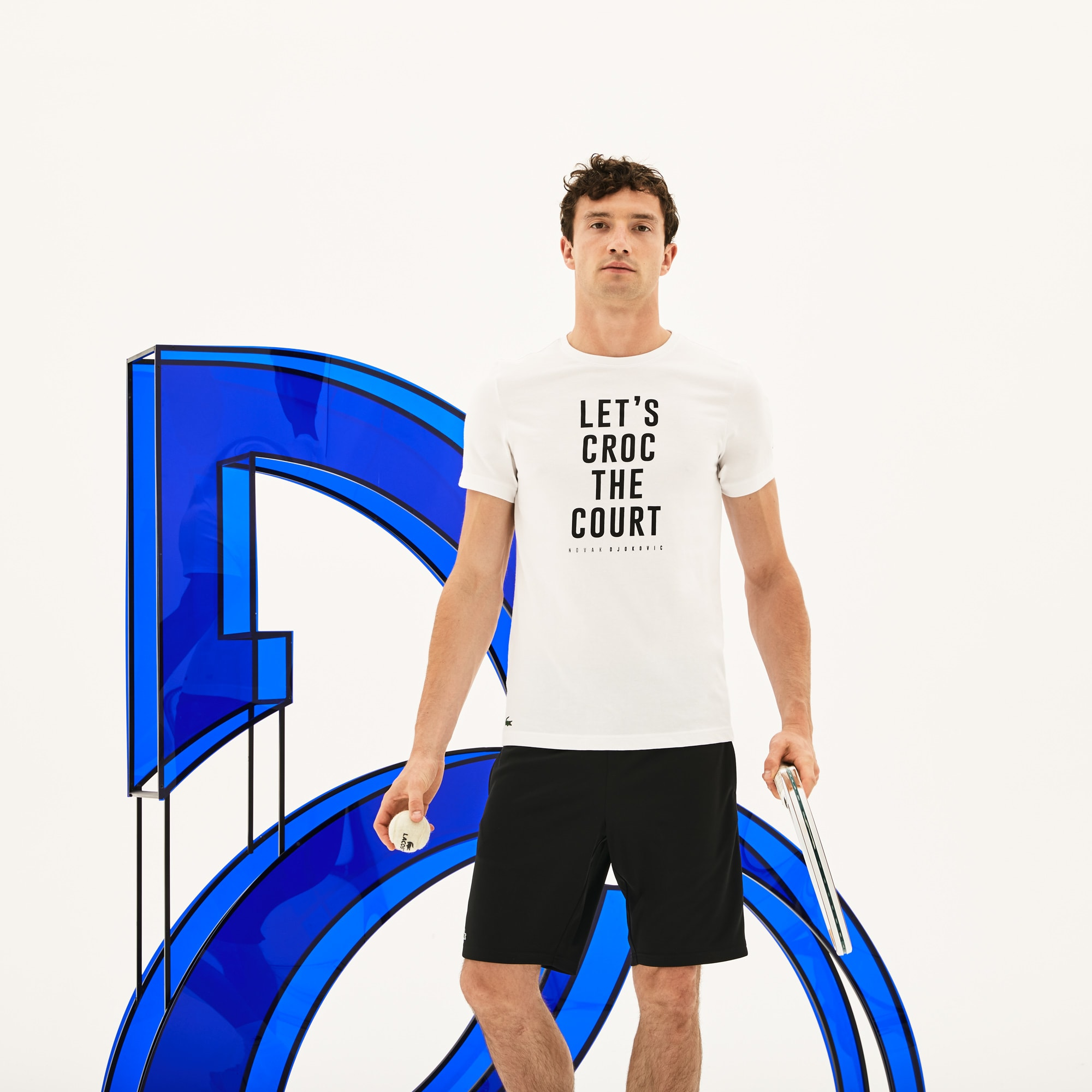 Men's Lacoste SPORT NOVAK DJOKOVIC SUPPORT WITH STYLE - OFF COURT COLLECTION Crew Neck Lettering Technical Jersey T-shirt