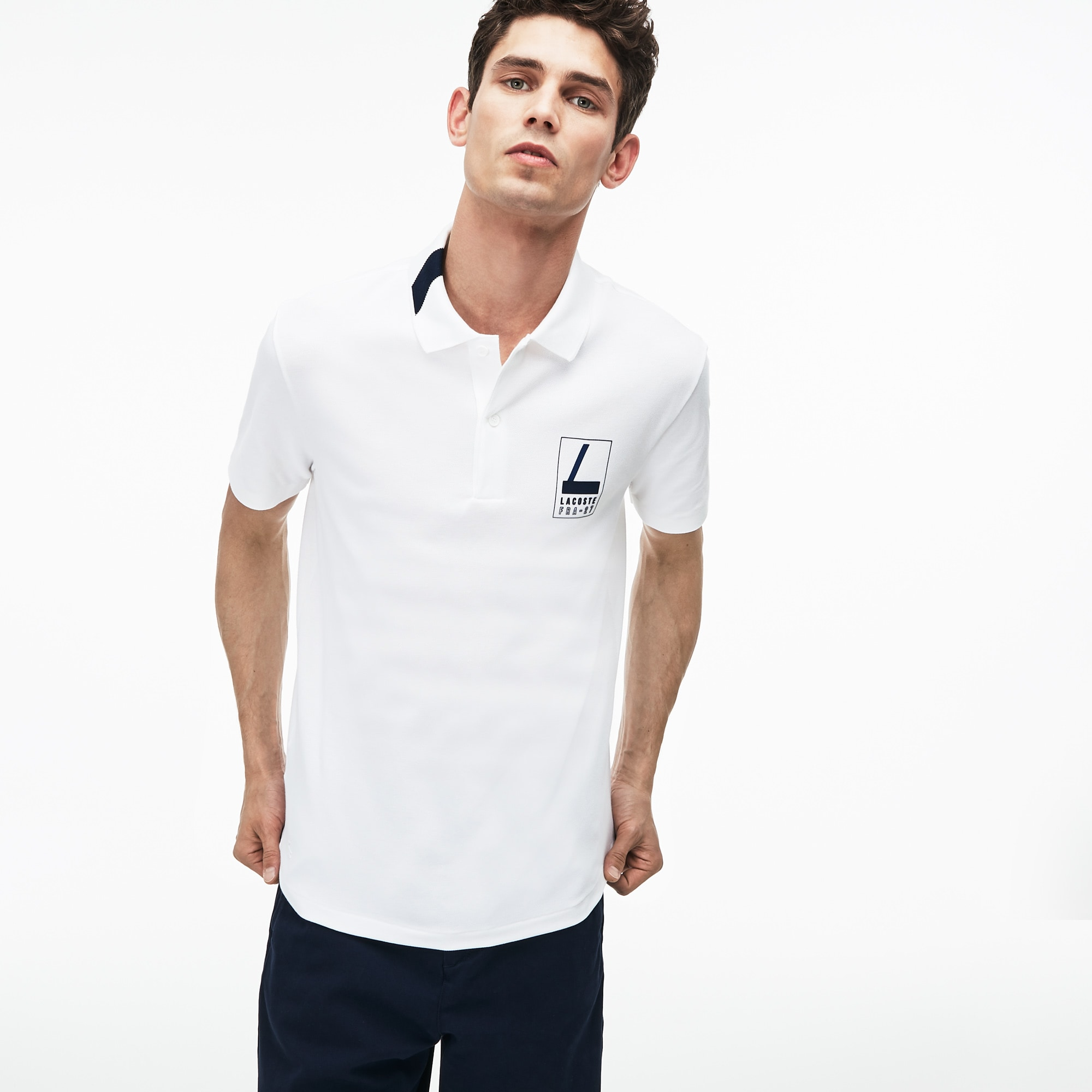 Men's Lacoste Slim Fit Lettering Stretch Mini Piqué Polo Shirt