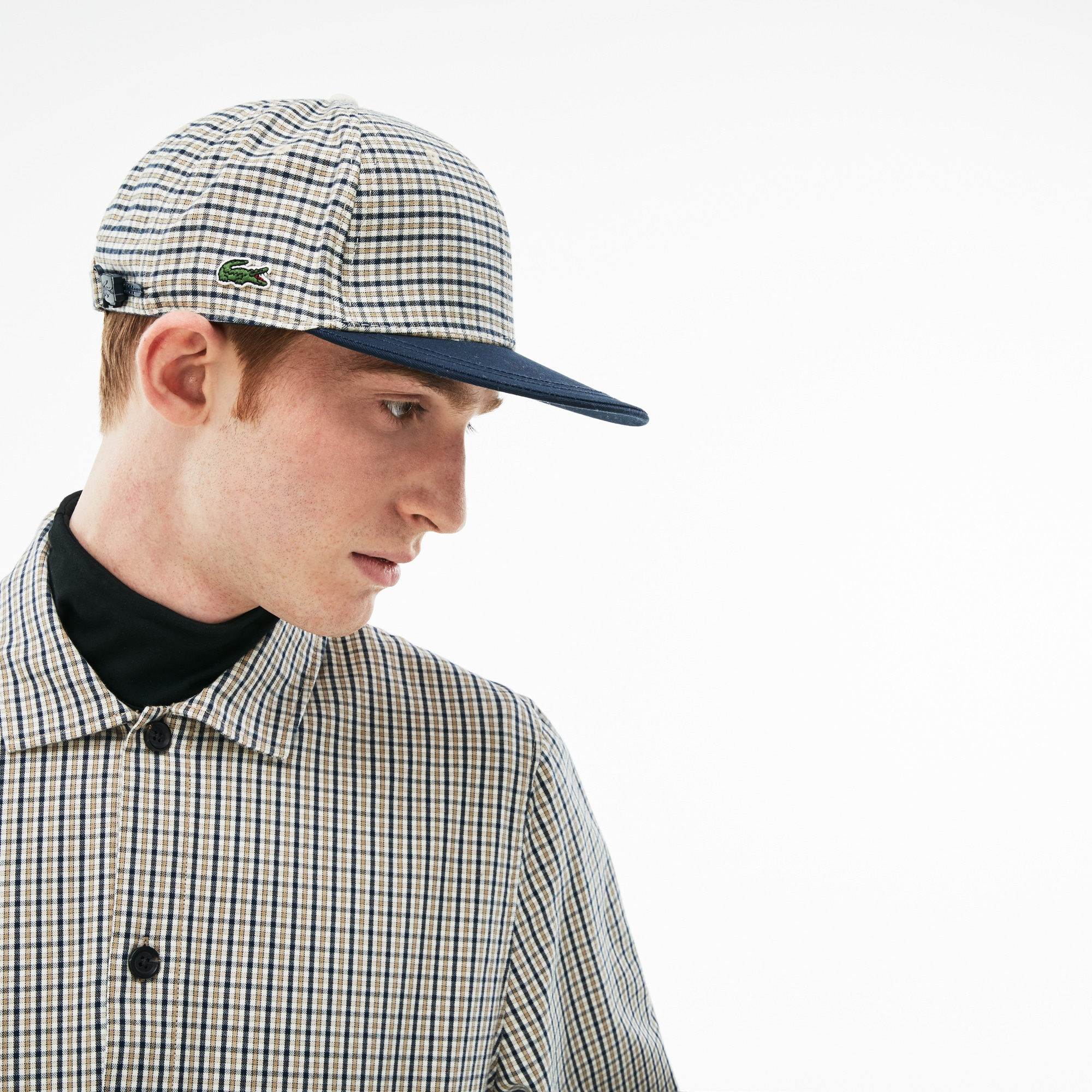 Lacoste LIVE Contrasting Visor Check Flannel Cap