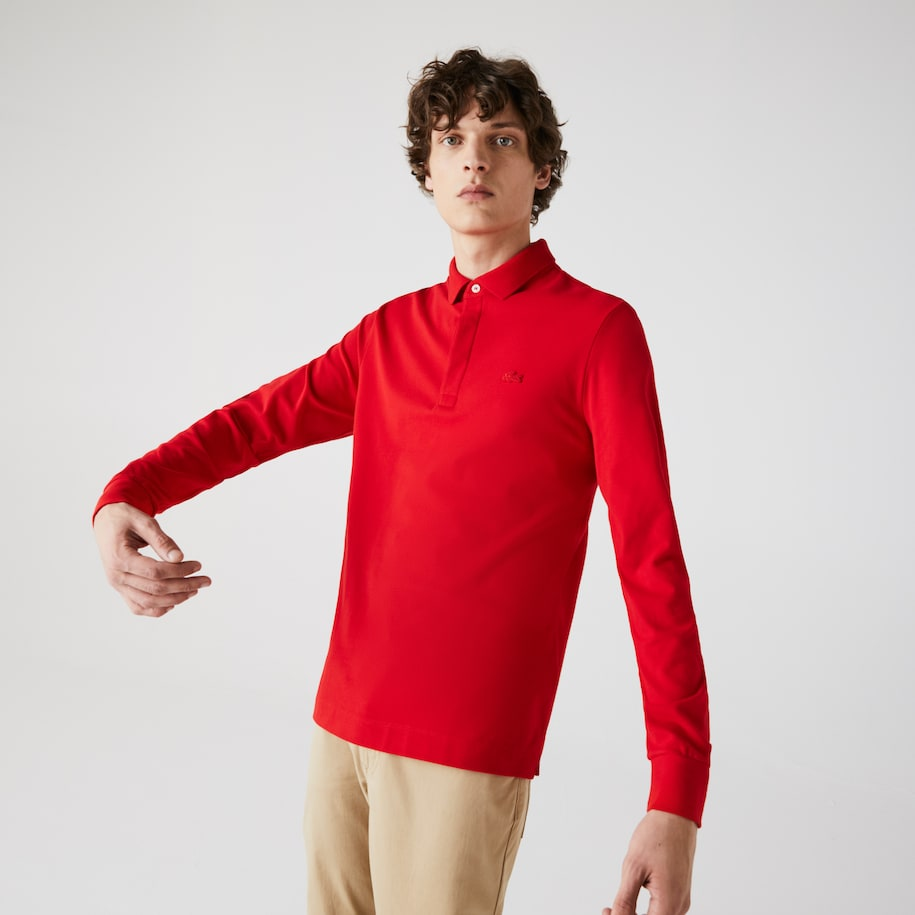 Men's Long-sleeve Lacoste Paris Classic Fit Polo Shirt Stretch