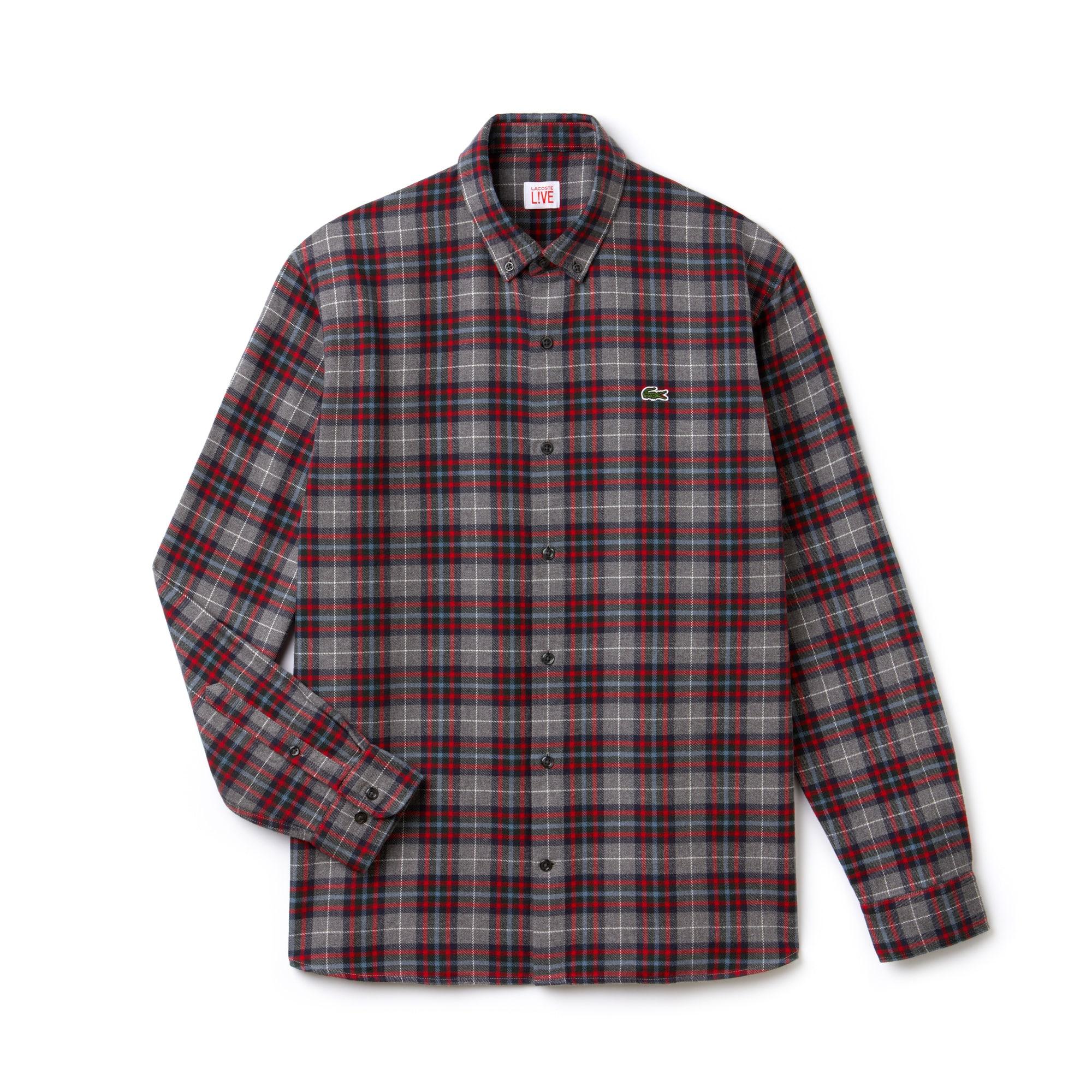 212a75916c2a8 Men s Lacoste LIVE Boxy Fit Check Cotton Flannel Shirt
