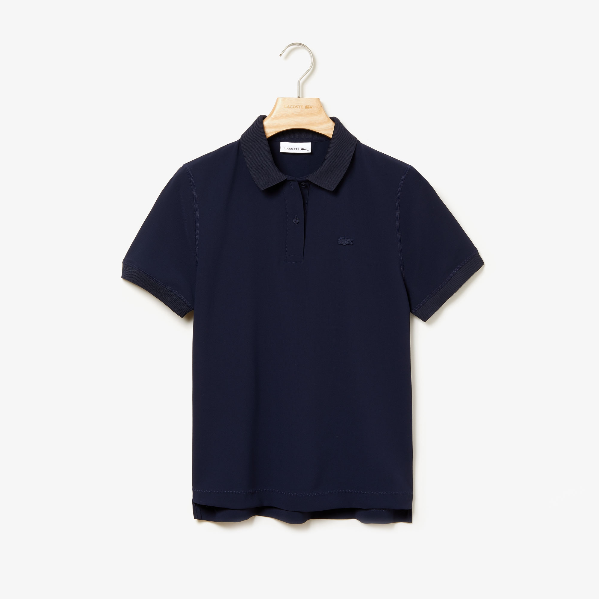 Women's Lacoste Regular Fit Asymmetrical Hem Crepe Polo Shirt