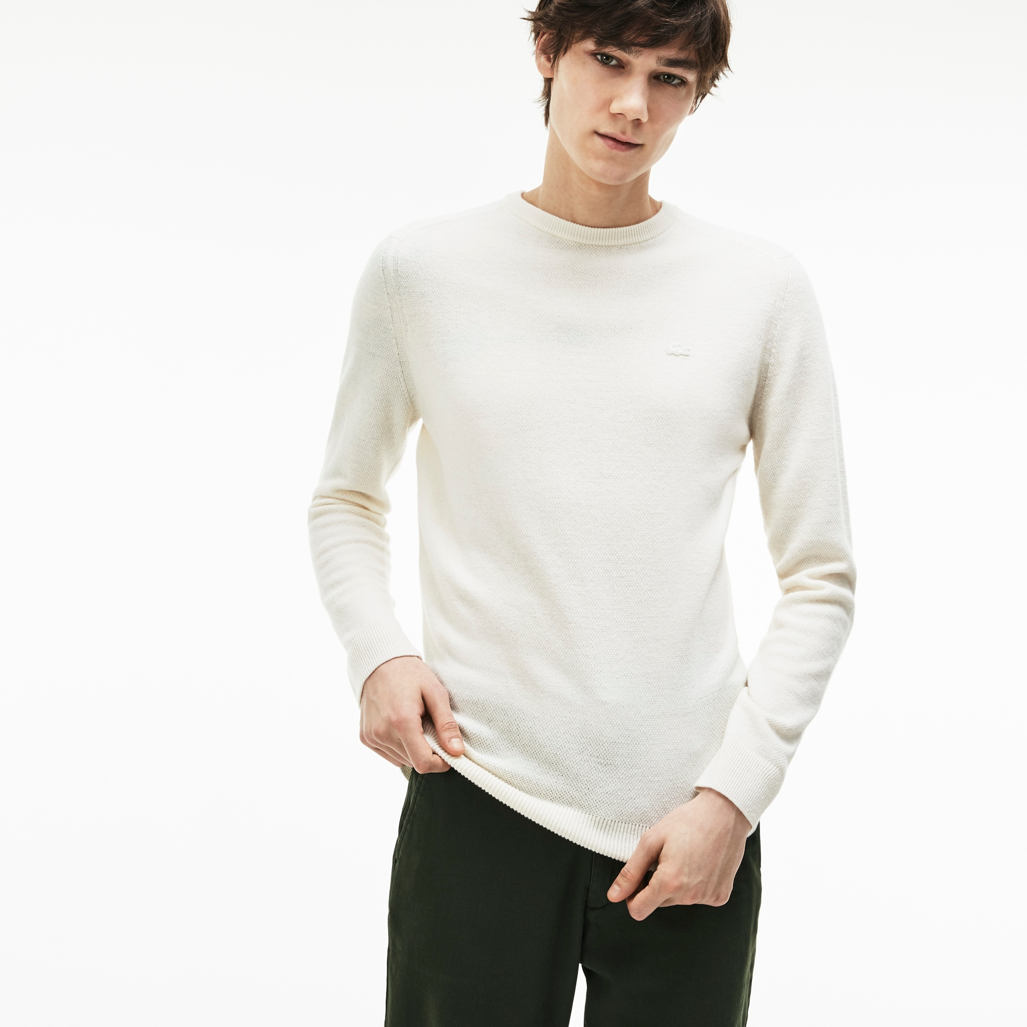 Men's Crew Neck Double Wool And Cashmere Piqué Sweater