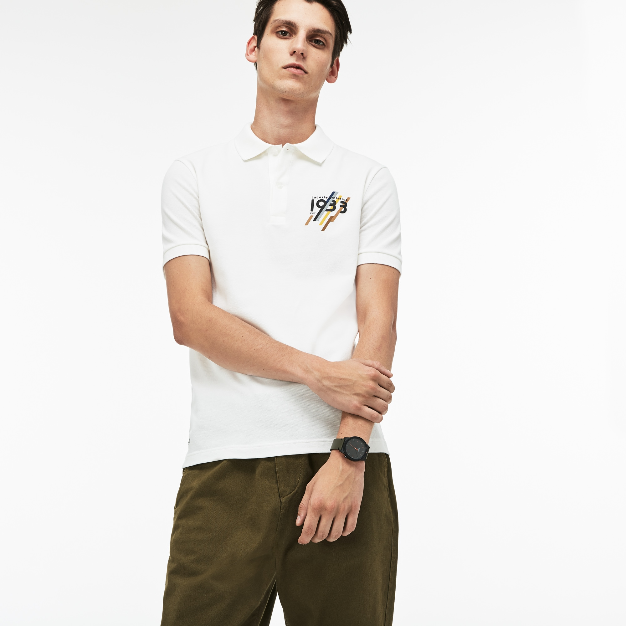 Men's Lacoste Slim Fit 1933 Lettering Stretch Mini Piqué Polo