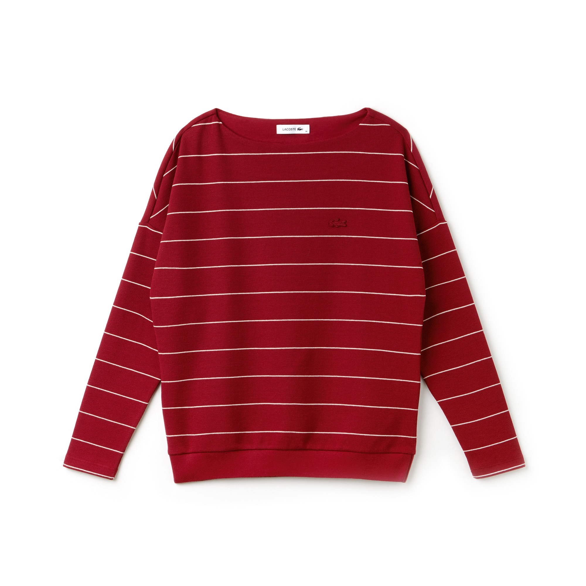 Women's Boat Neck Striped Cotton Honeycomb Sweatshirt