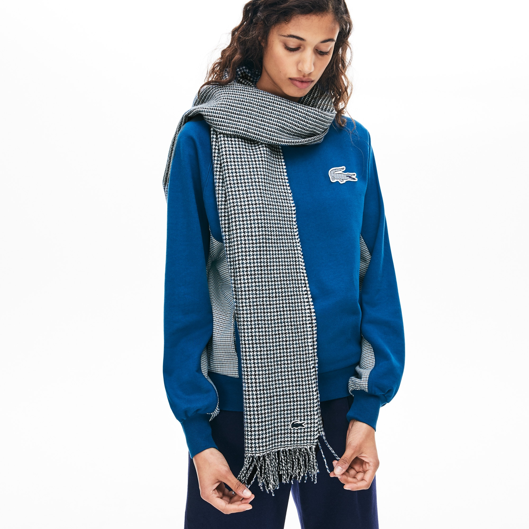 Women's Fringed Multiple Check Wool Scarf