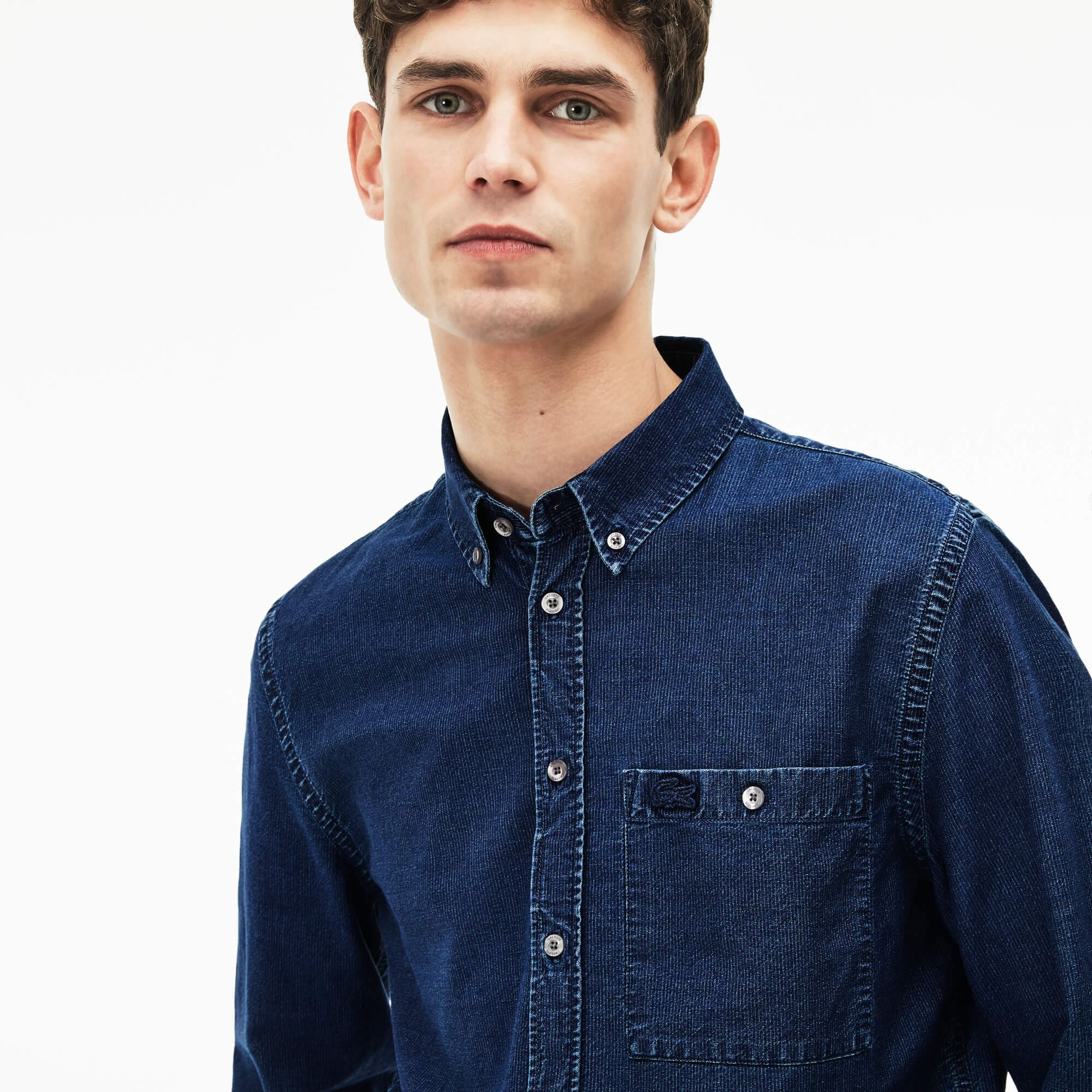 Men's Regular Fit Pinstriped Indigo Cotton Poplin Shirt