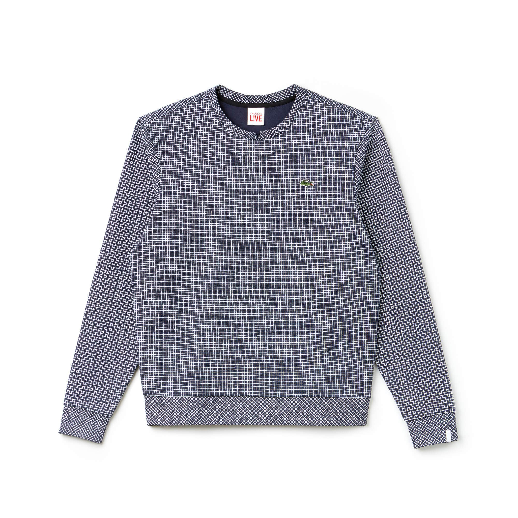 Men's Lacoste LIVE Crew Neck Mini Check Fleece Sweatshirt