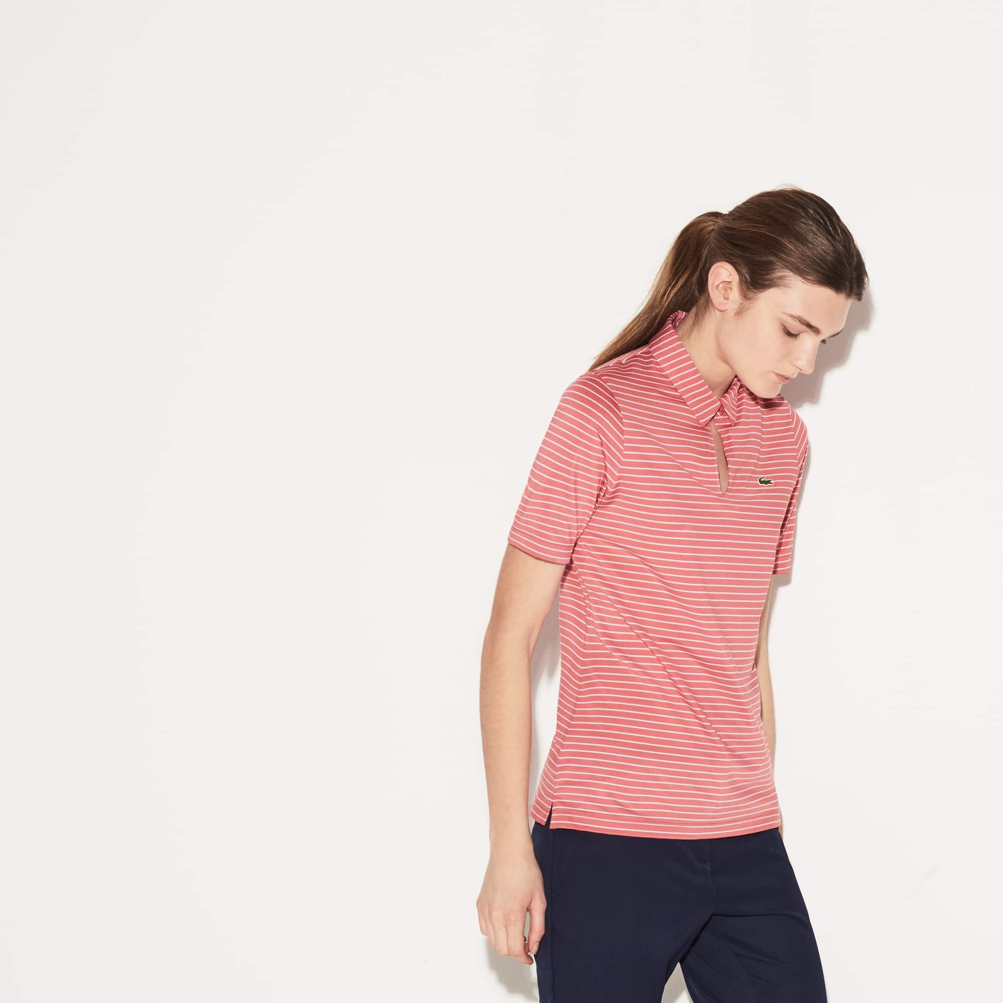 Women's Lacoste SPORT Teardrop Neck Striped Jersey Golf Polo