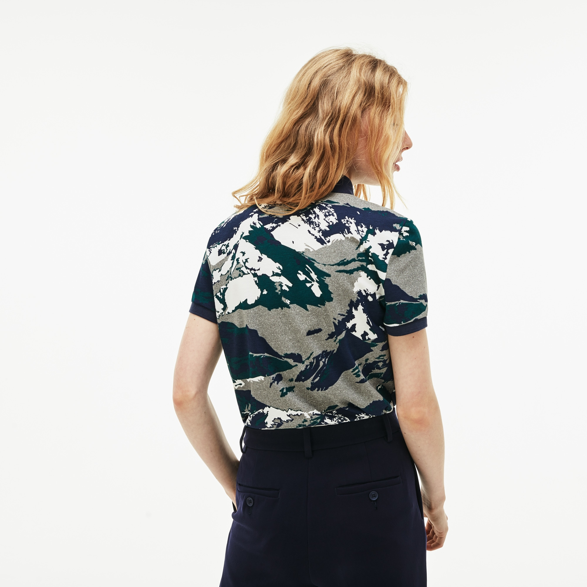 Women's Lacoste Classic Fit Mountain Print Cotton Mini Piqué Polo