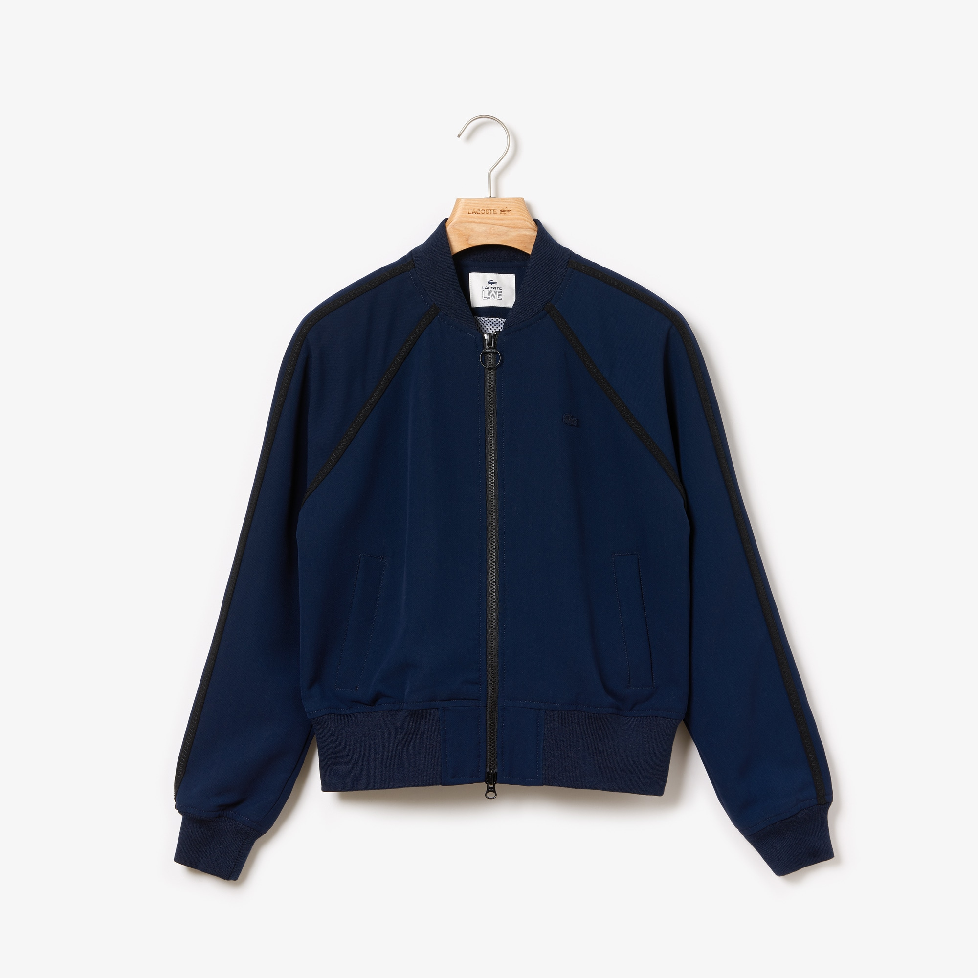Women's Lacoste LIVE Contrast Overstitched Bands Zip Bomber