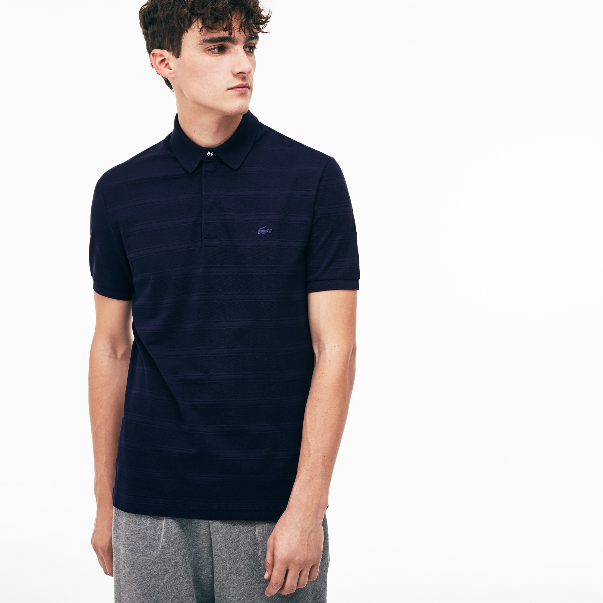 Men's Lacoste Slim Fit Striped Jersey And Cotton Piqué Polo Shirt