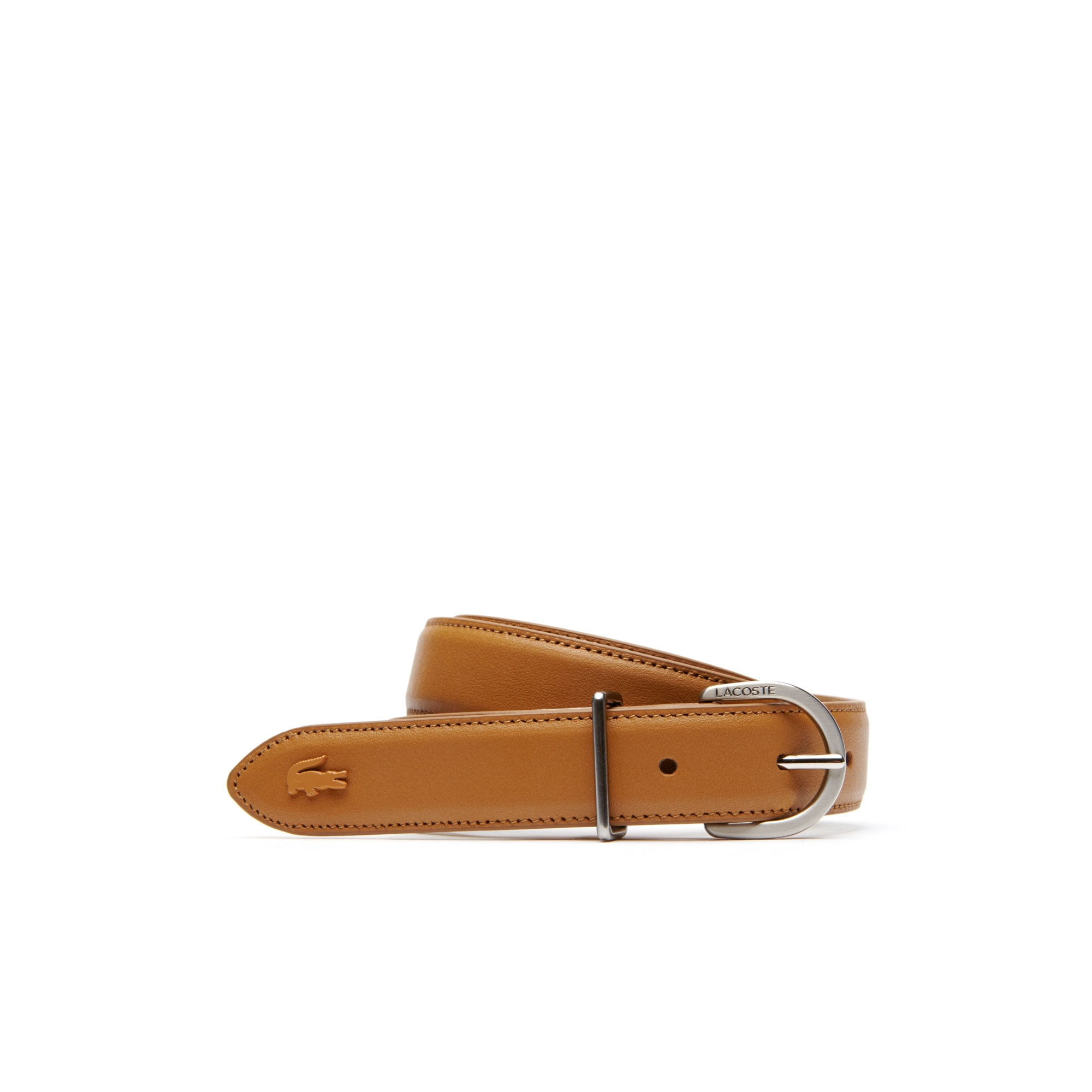 Women's L.12.12 Lacoste Engraved Tongue Buckle Leather Belt