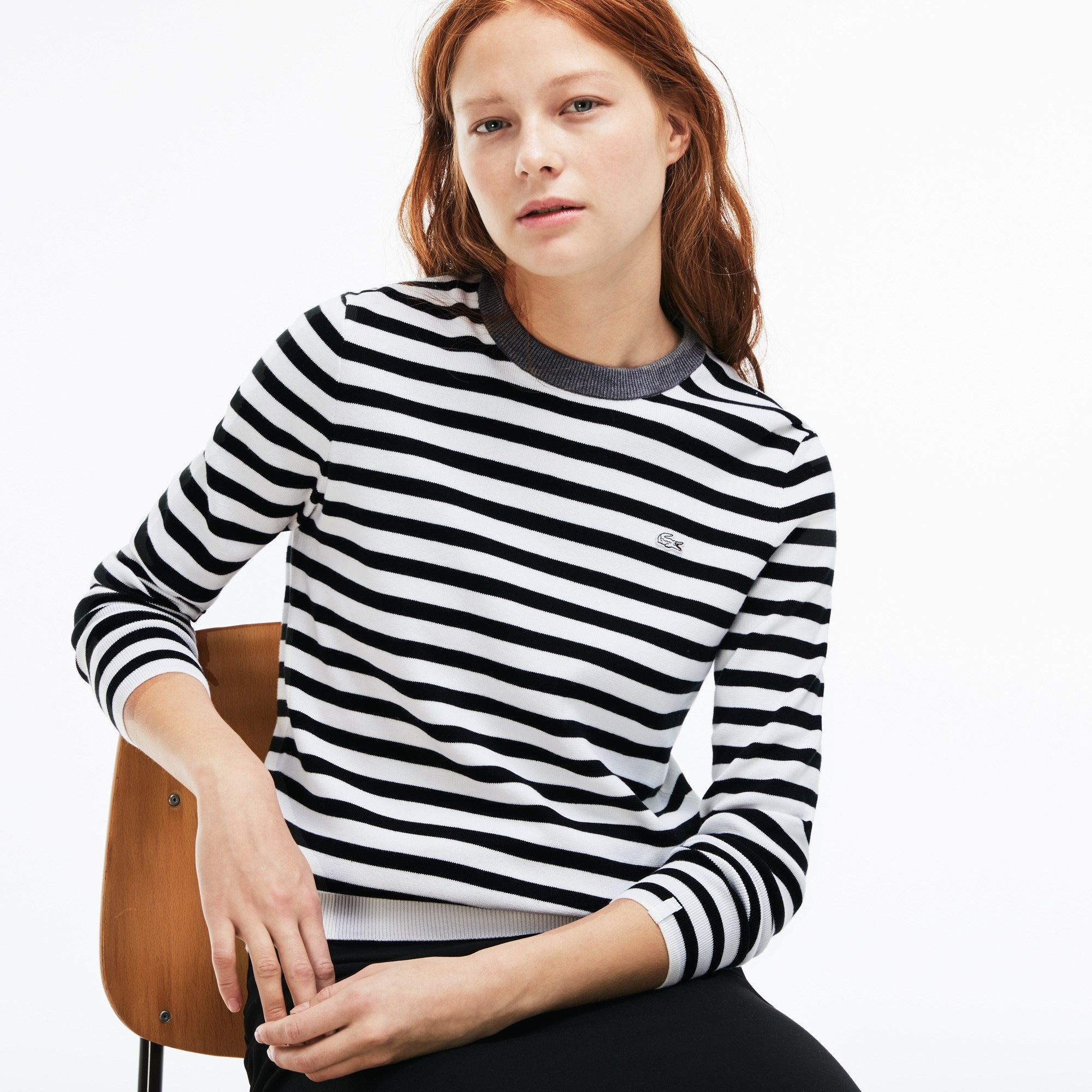 Women's Lacoste LIVE Crew Neck Striped Cotton Jersey Sweater