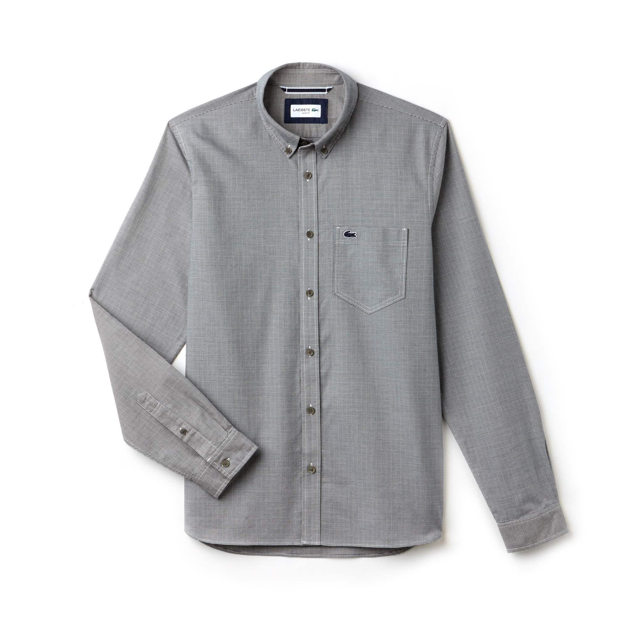 Men's Slim Fit Houndstooth Print Poplin Shirt