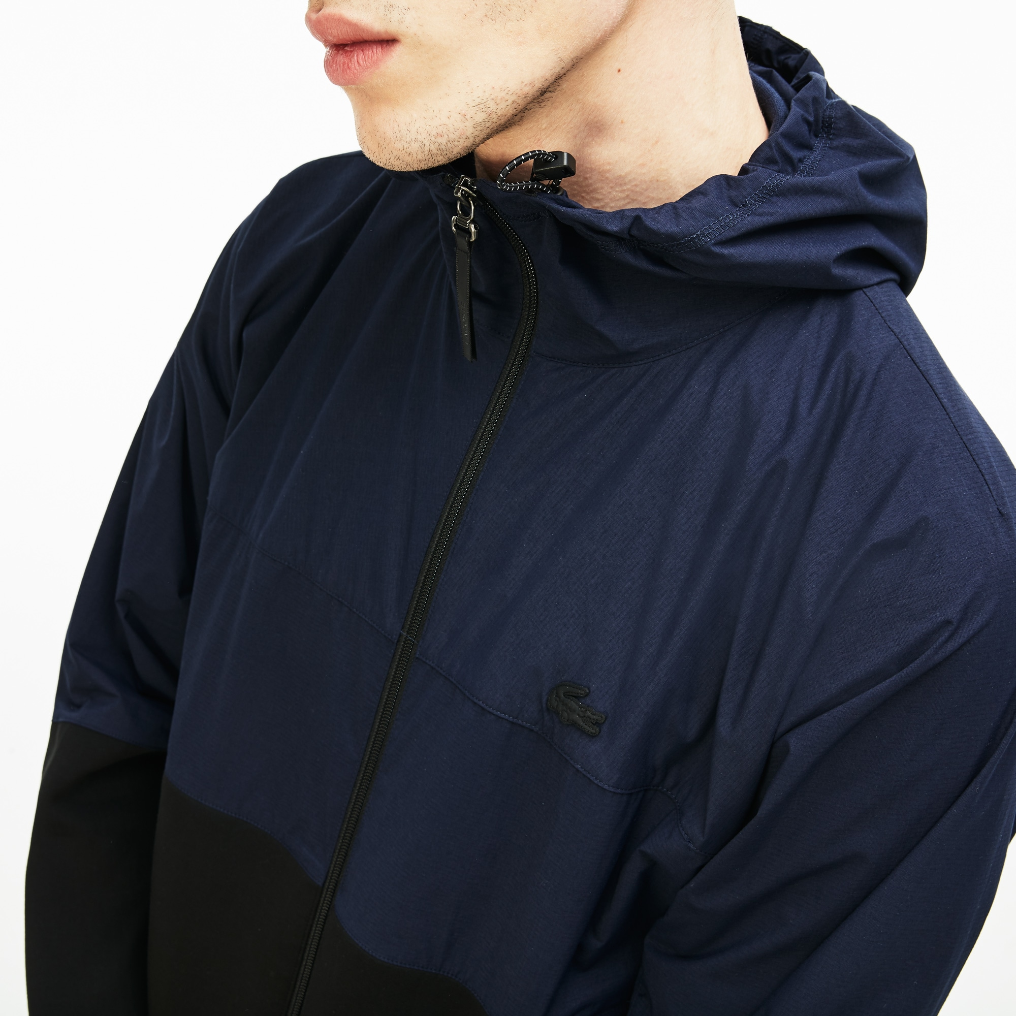 94d1e1ca8048 Men s Lacoste Motion Hooded Bi-Material Technical Windbreaker