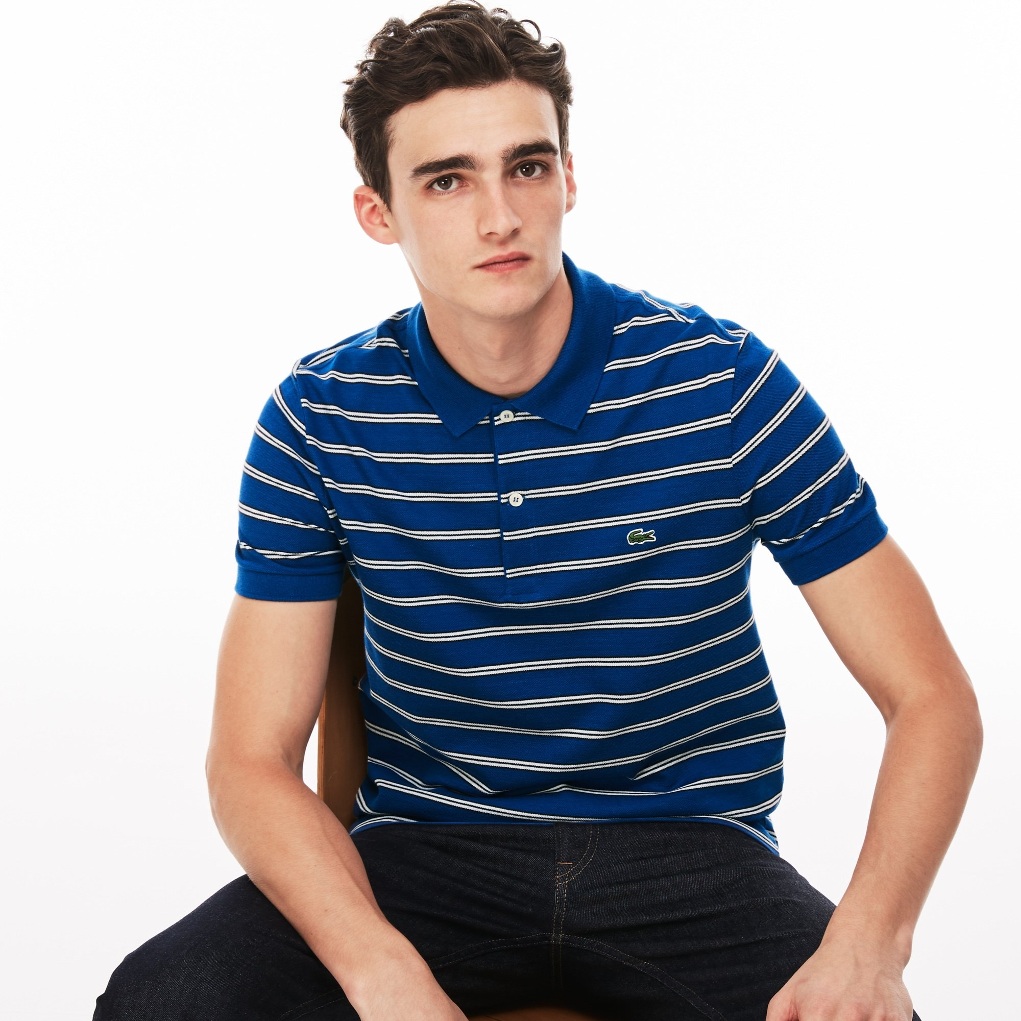 Men's Lacoste Regular Fit Striped Texturized Cotton Piqué Polo Shirt
