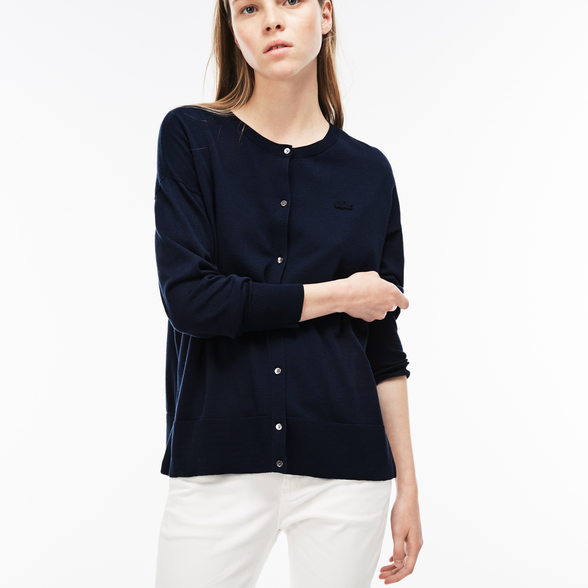 Women's High Neck Cotton Jersey Cardigan