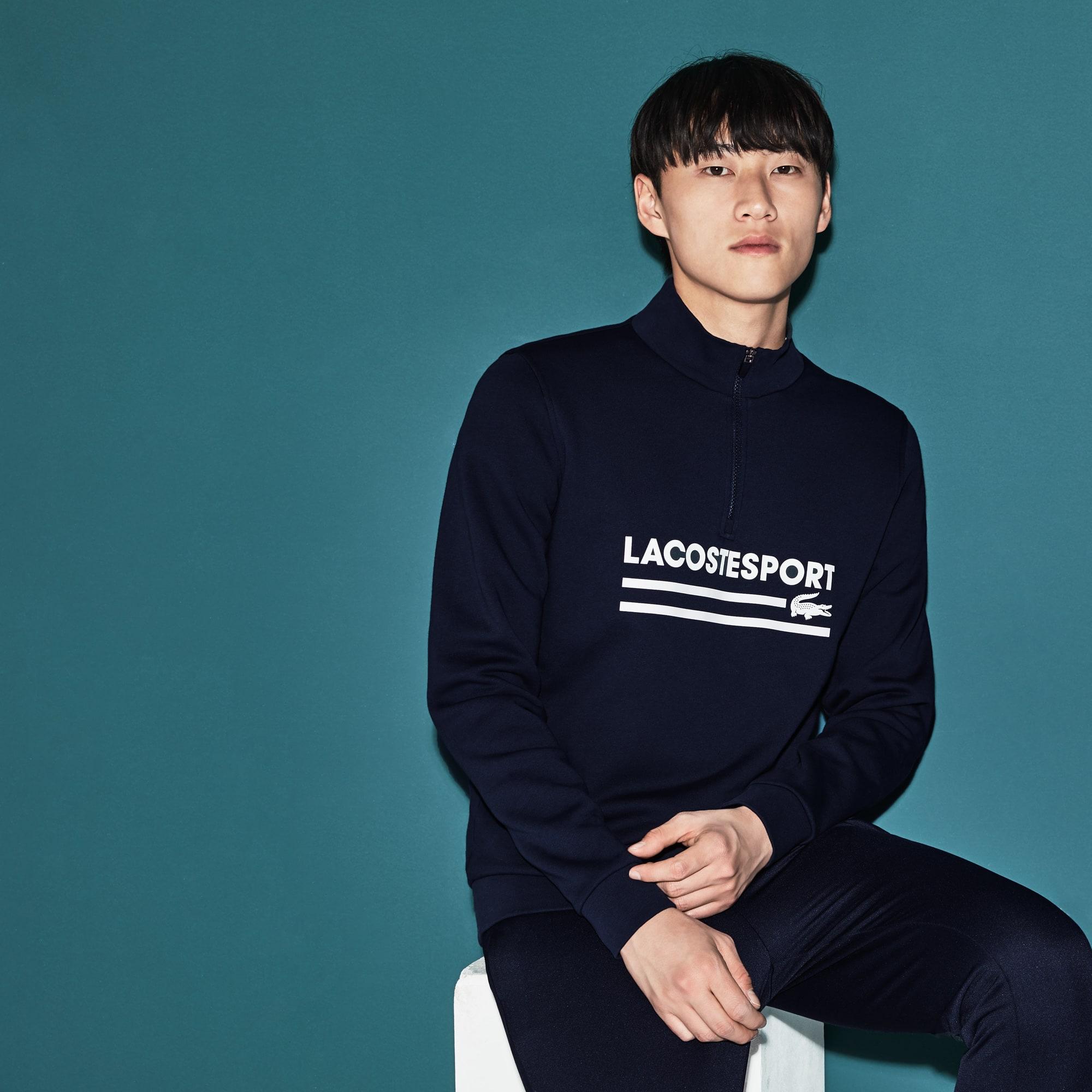 Men's Lacoste SPORT Zip Stand-Up Collar Fleece Tennis Sweatshirt