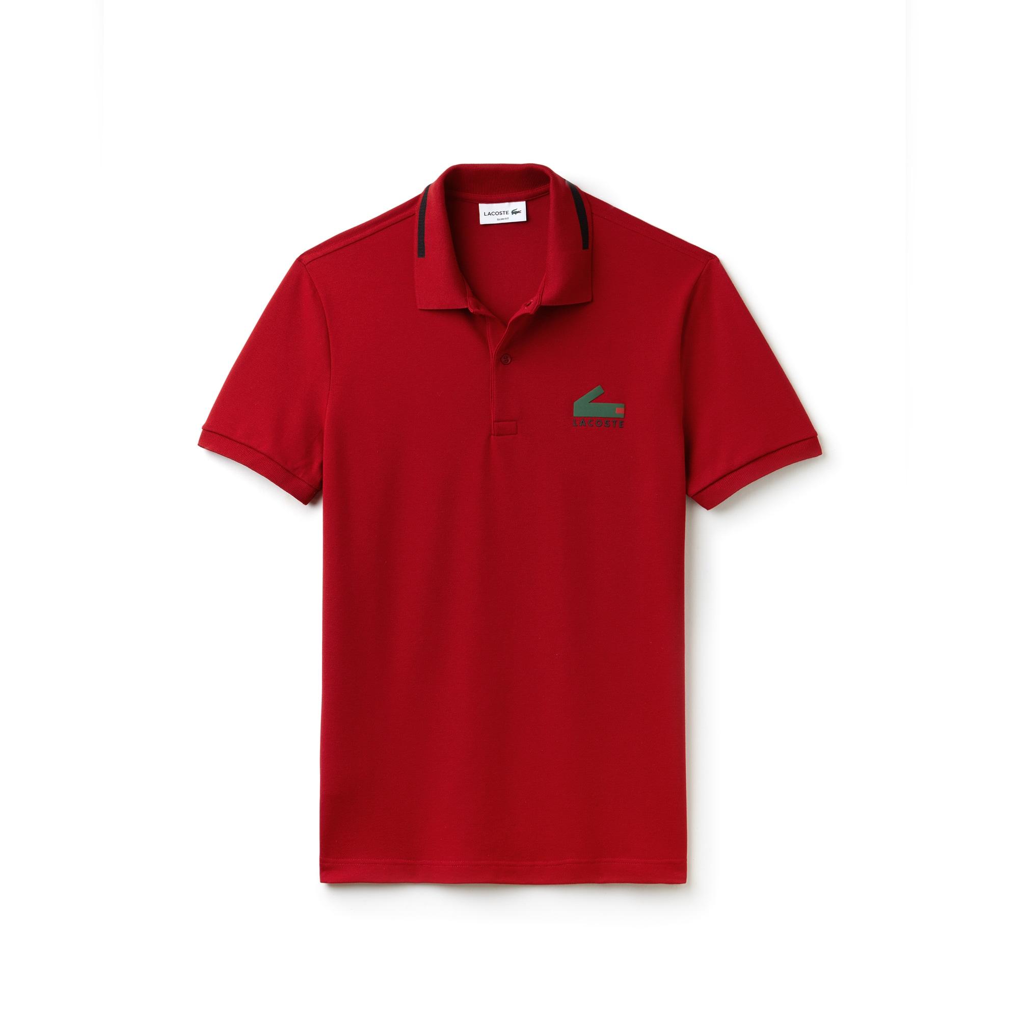 Men's Lacoste Slim Fit Graphic Print Stretch Mini Piqué Polo