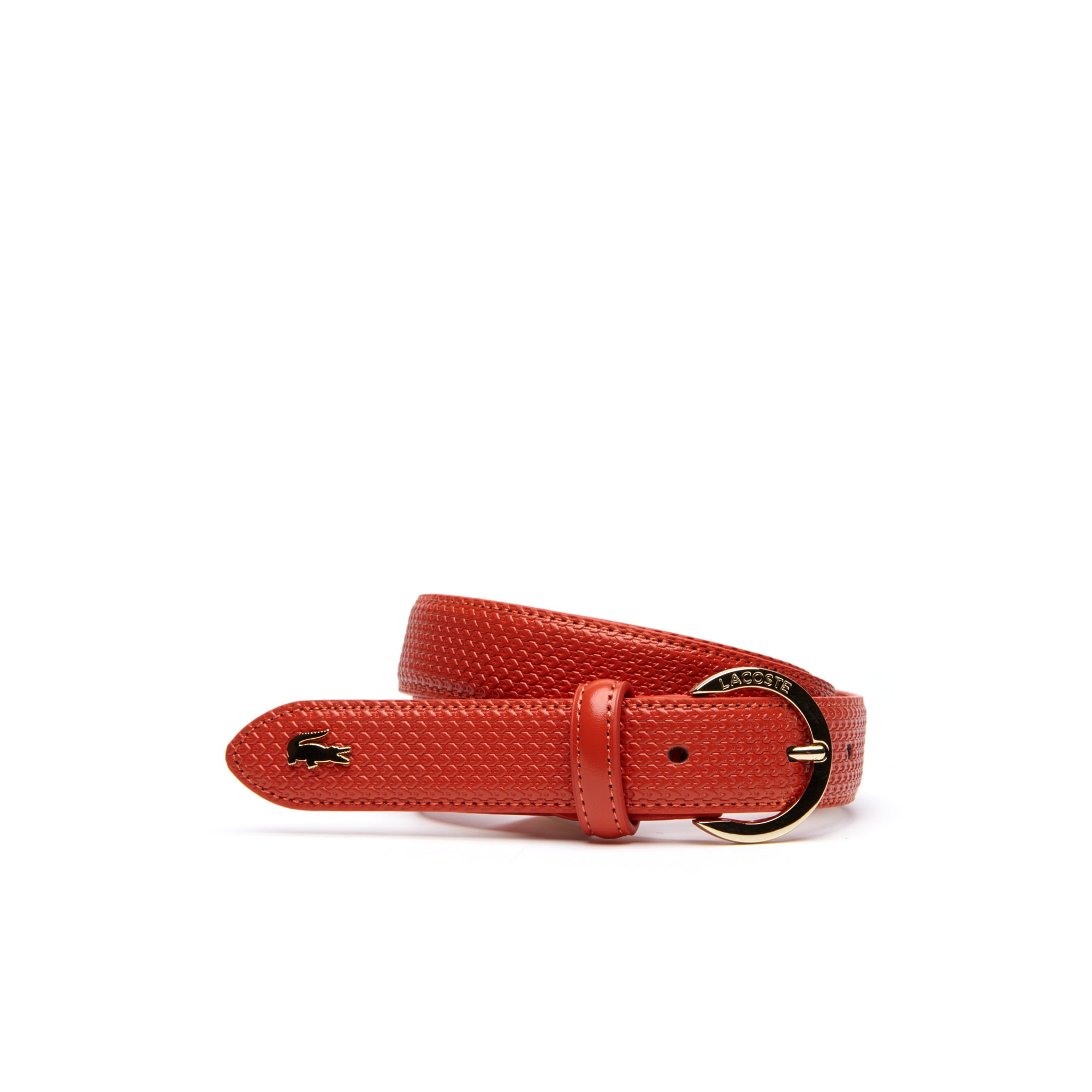 Women's Chantaco Lacoste Engraved Round Buckle Leather Belt