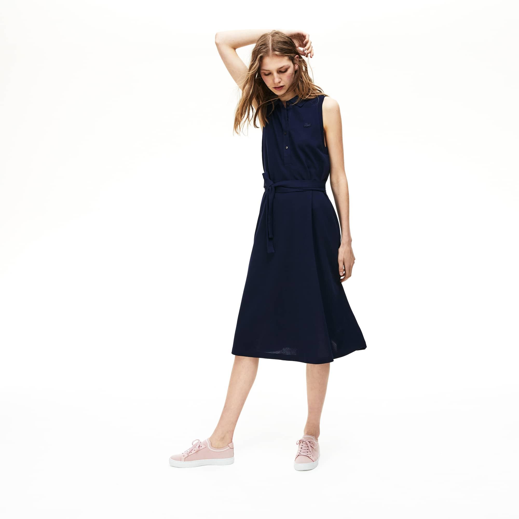 4f5fa6230 Women s Detachable Belt Soft Petit Piqué Polo Dress