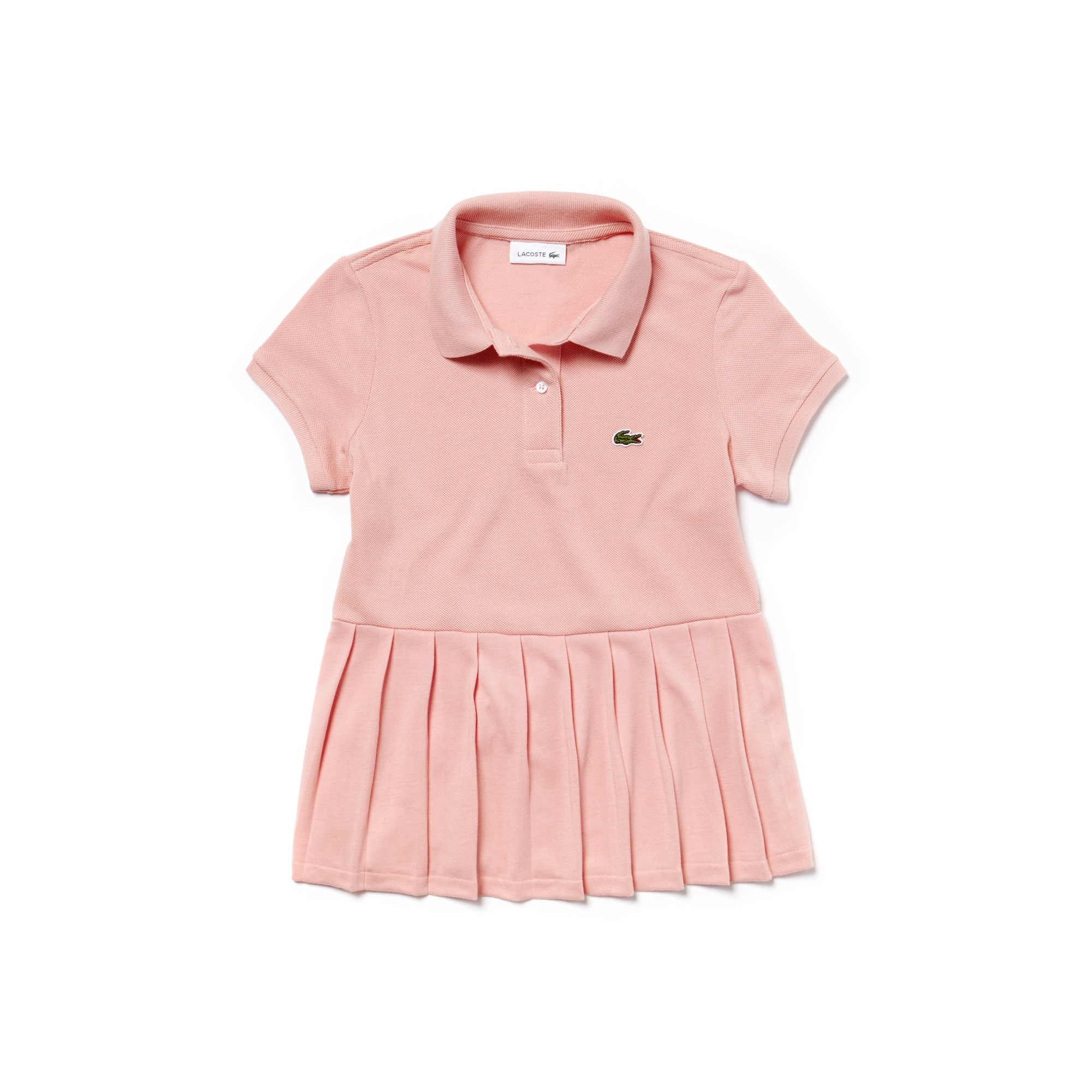 Girls' Lacoste Flat Pleated Cotton Petit Piqué Polo