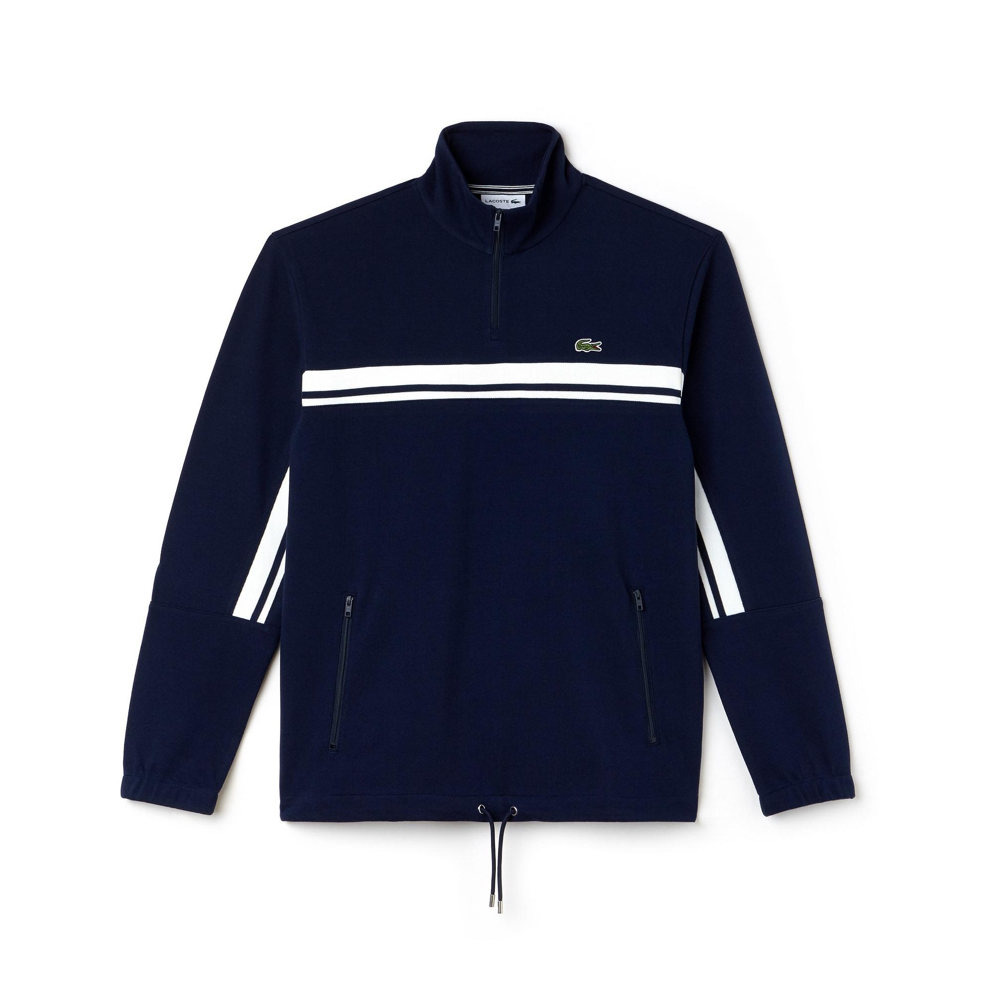 Men's Zip Stand-Up Collar Colorblock Bands Piqué Sweater