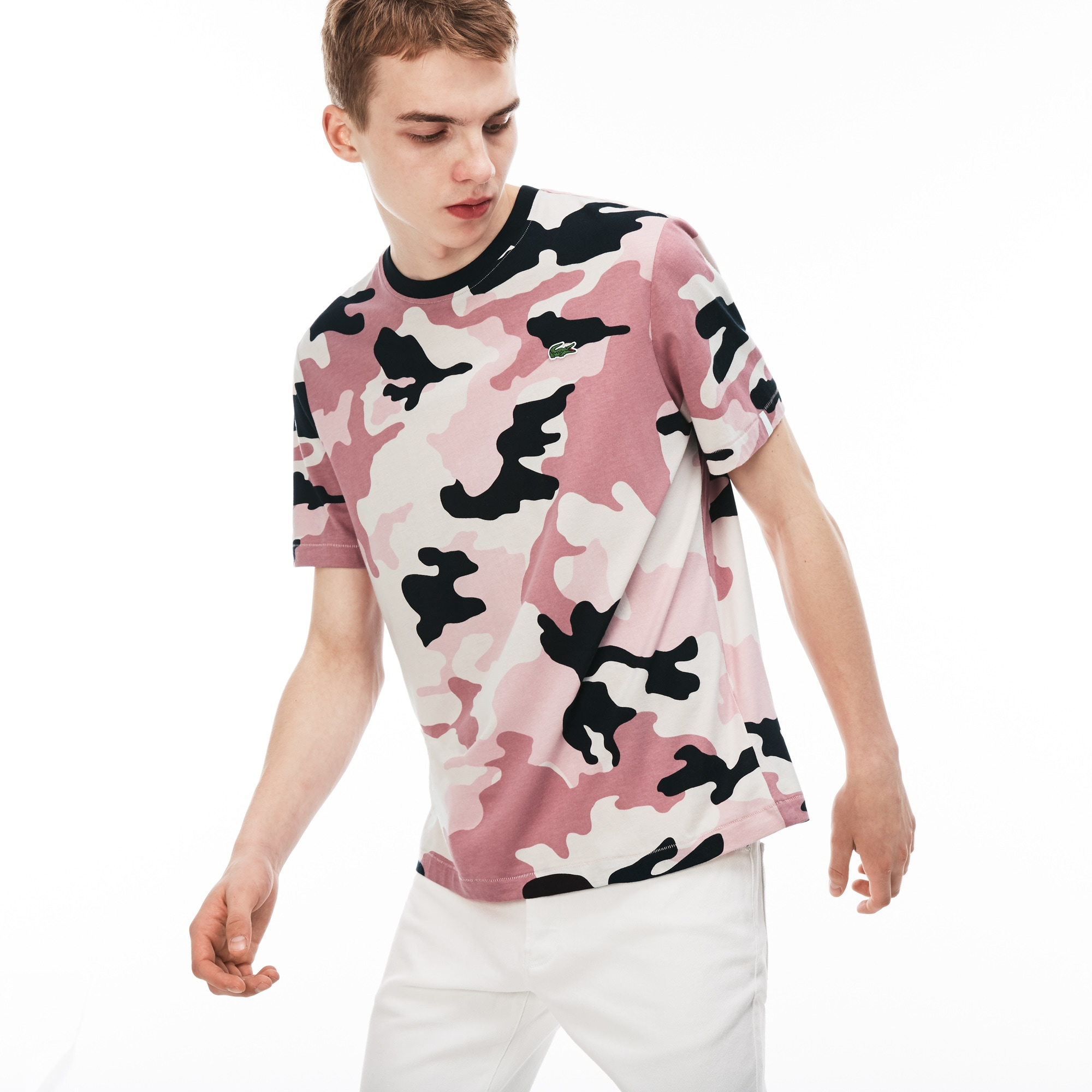 Men's Lacoste LIVE Crew Neck Camouflage Print Jersey T-shirt
