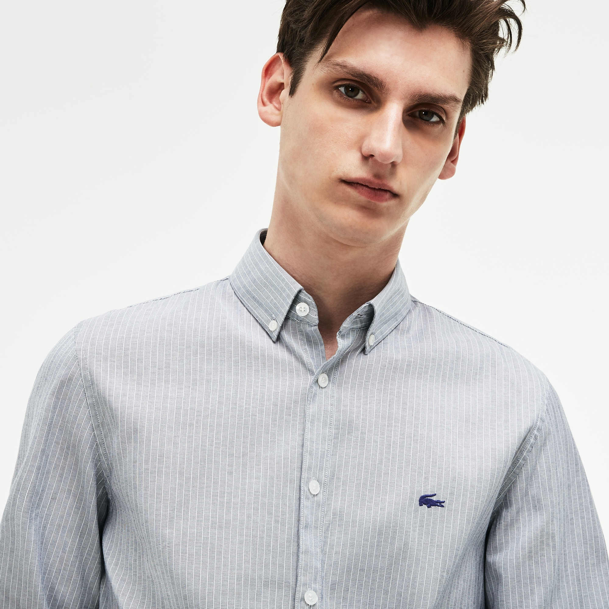 Men's Slim Fit Striped Stretch Cotton Pinpoint Shirt