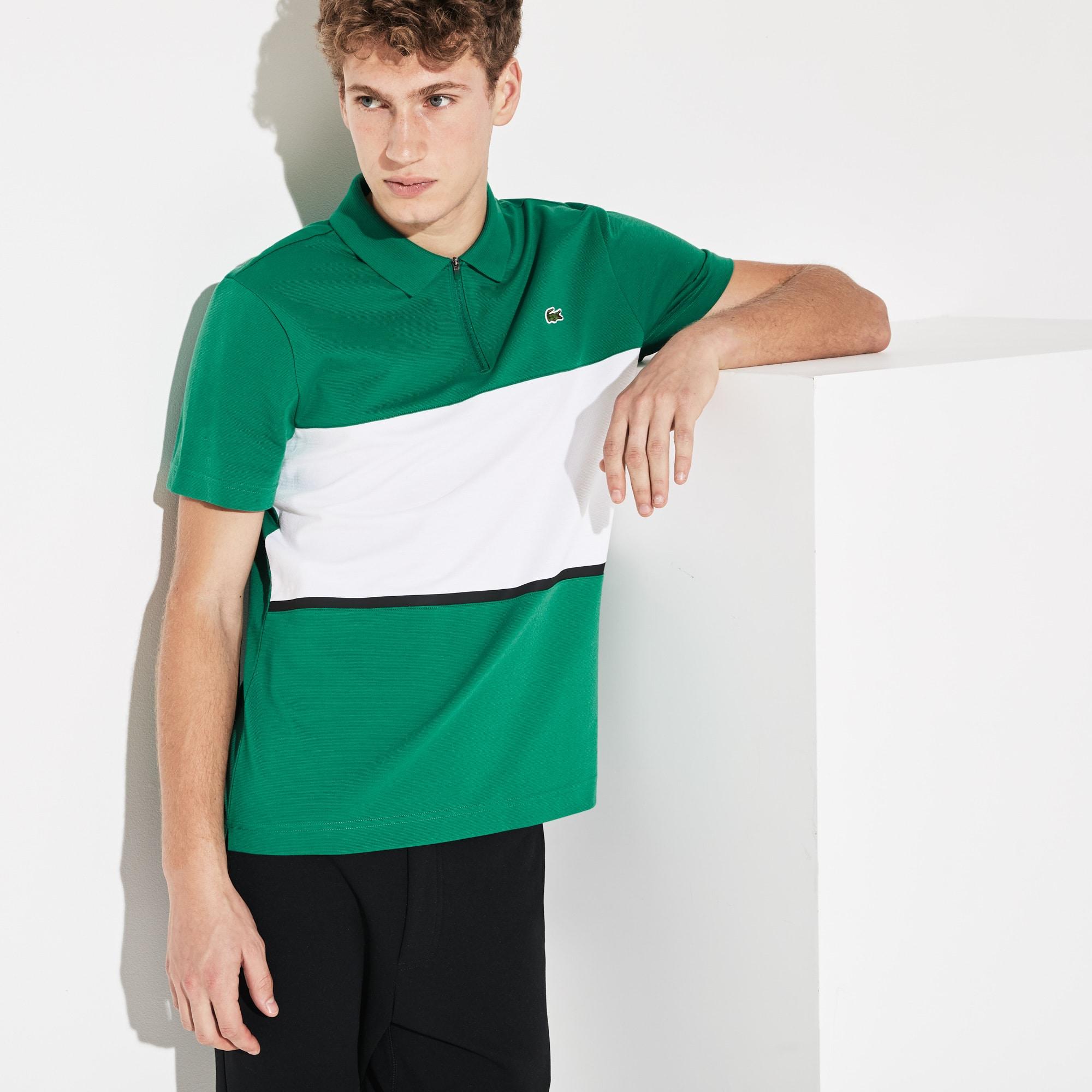 f286bd209 Men s Lacoste SPORT Zip Neck Colourblock Ultra Light Cotton Polo ...