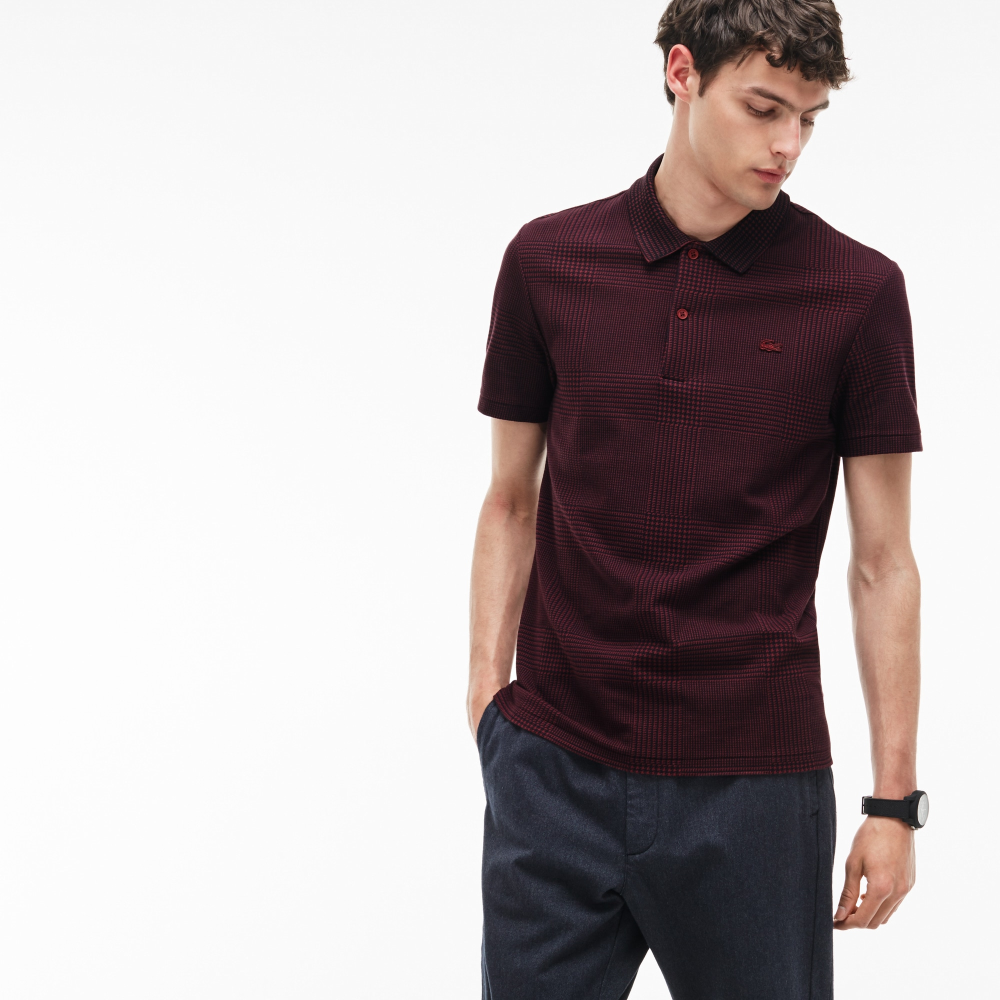 Men's Lacoste Slim Fit Bicolor Print Cotton Micro Piqué Polo