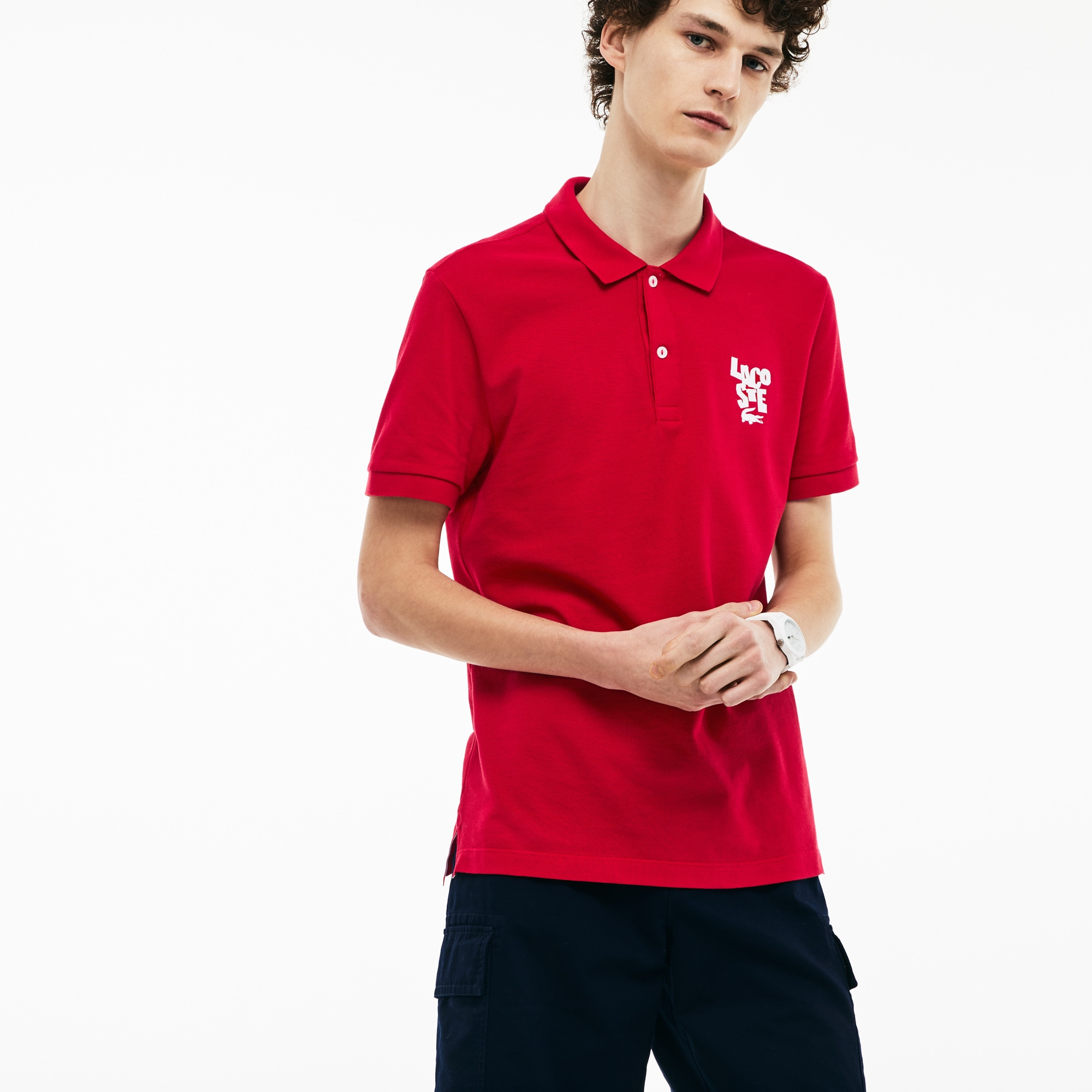 Men's Regular Fit Lacoste Lettering Cotton Petit Piqué Polo Shirt