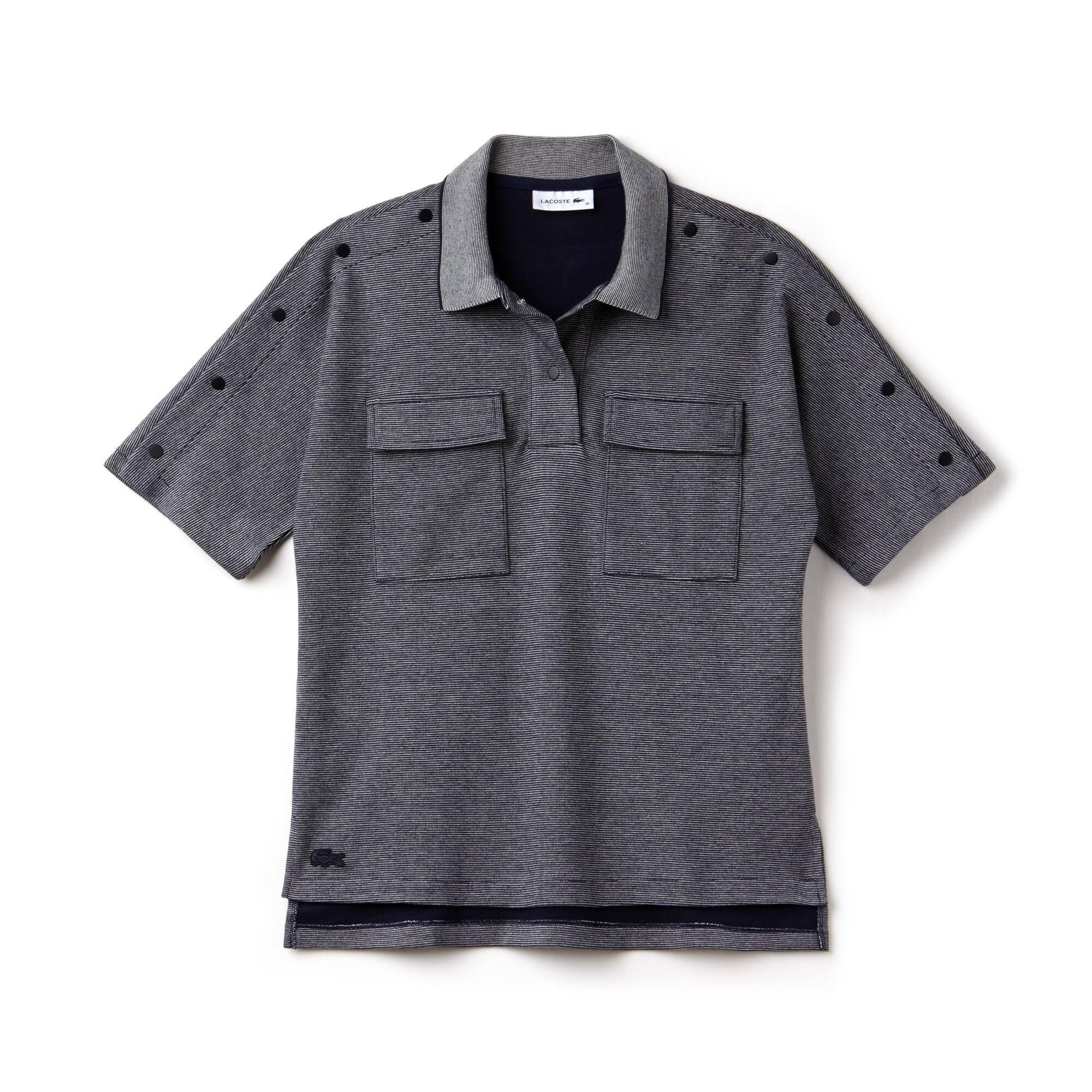 Women's Lacoste Buttoned Pinstriped Piqué Polo Shirt