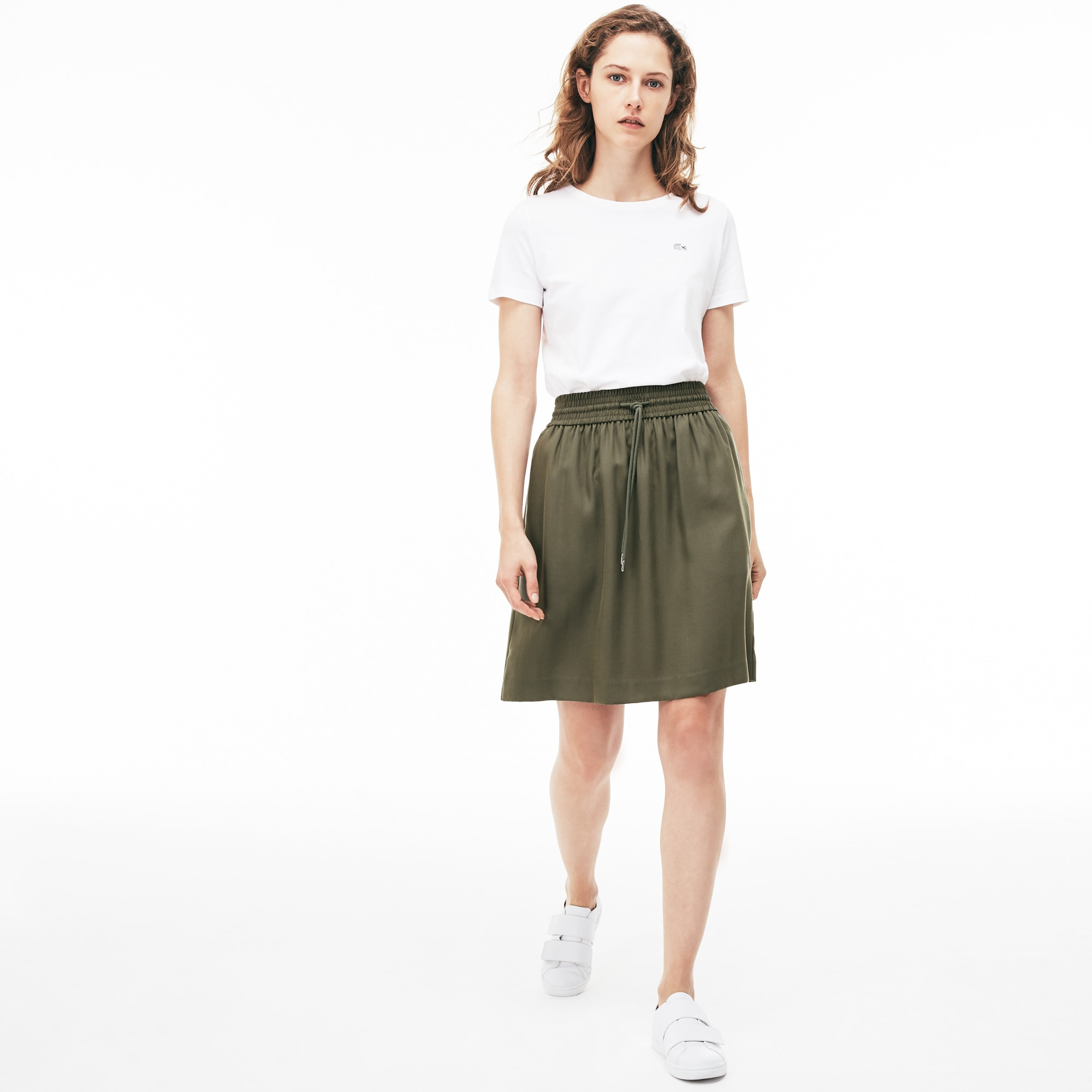 Women's Elasticised Waistband Piqué Mid-Length Skirt