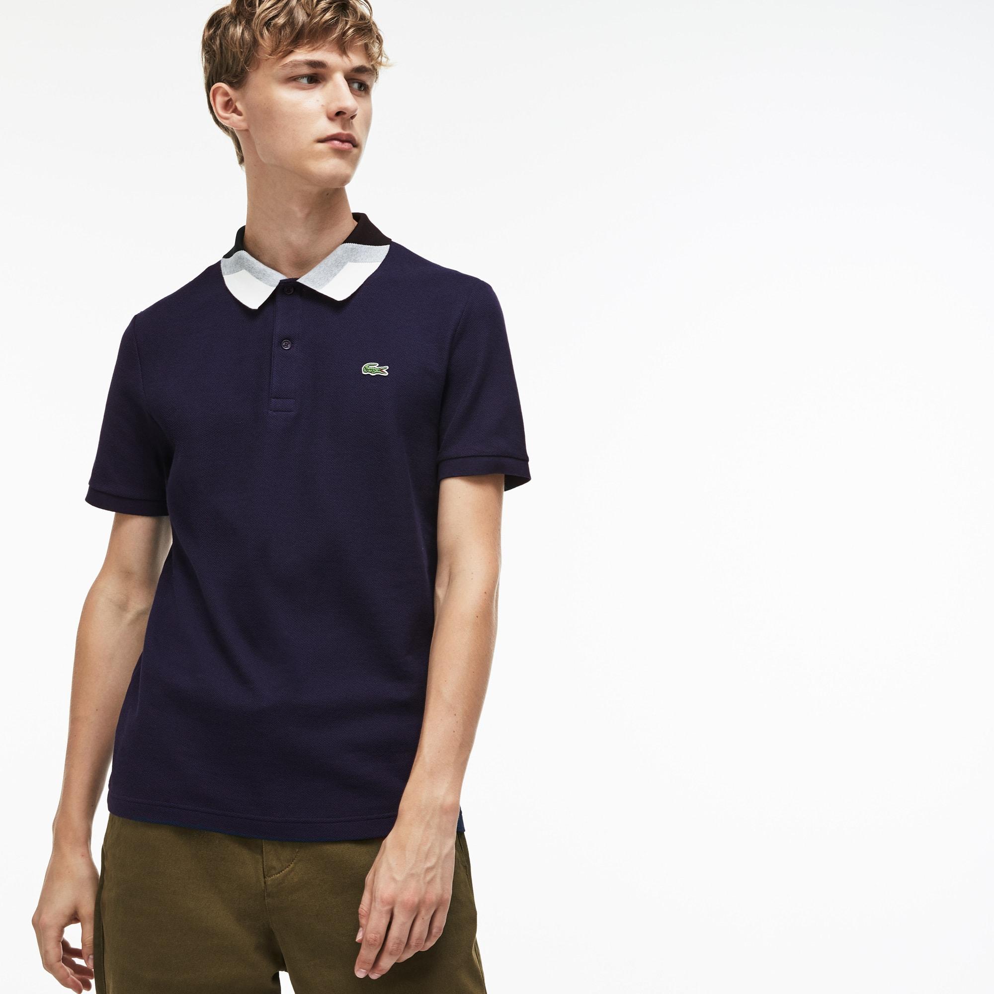 Men's Lacoste Slim Fit Colorblock Striped Knop Piqué Polo Shirt