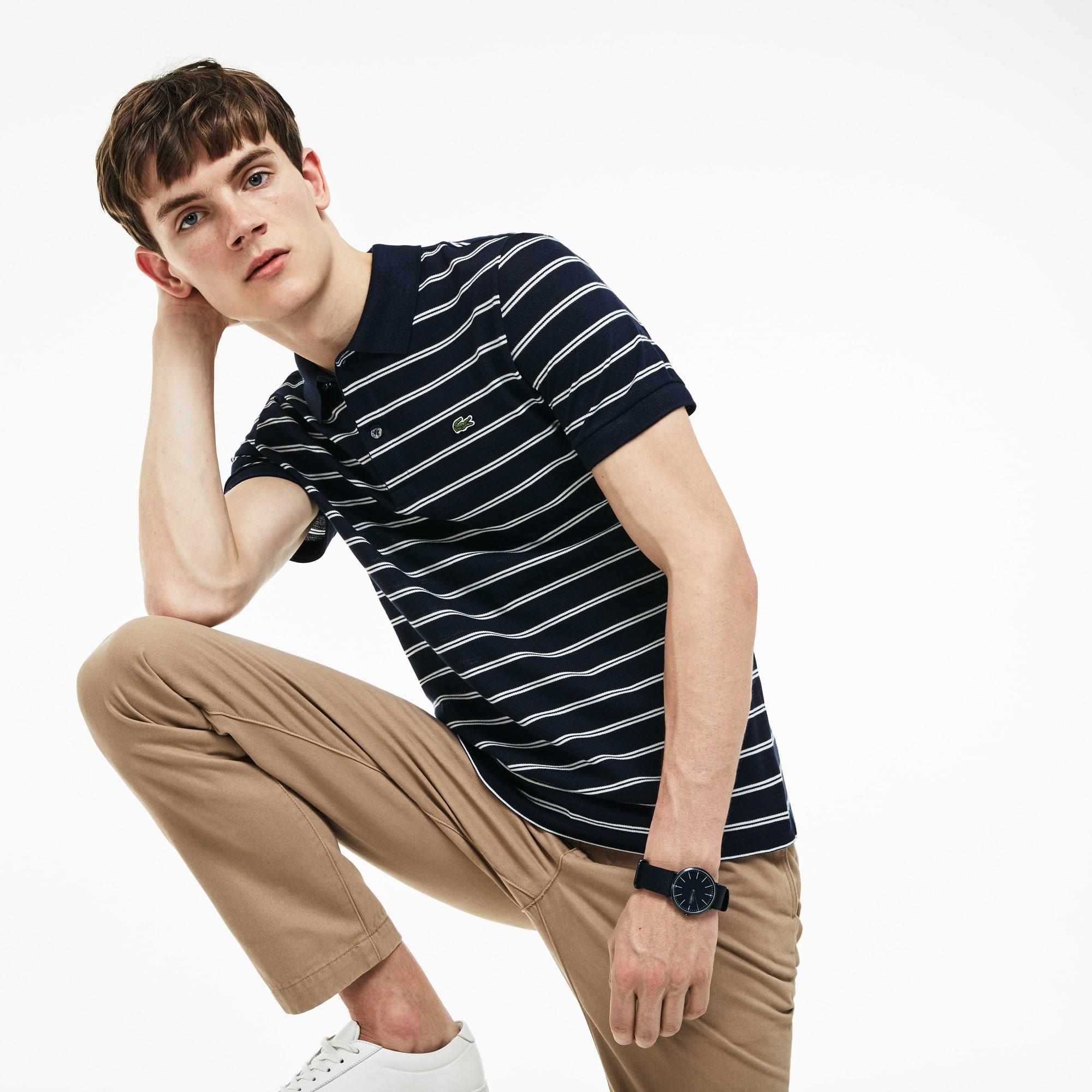 Men's Lacoste Regular Fit Striped Texturized Cotton Piqué Polo Shirt