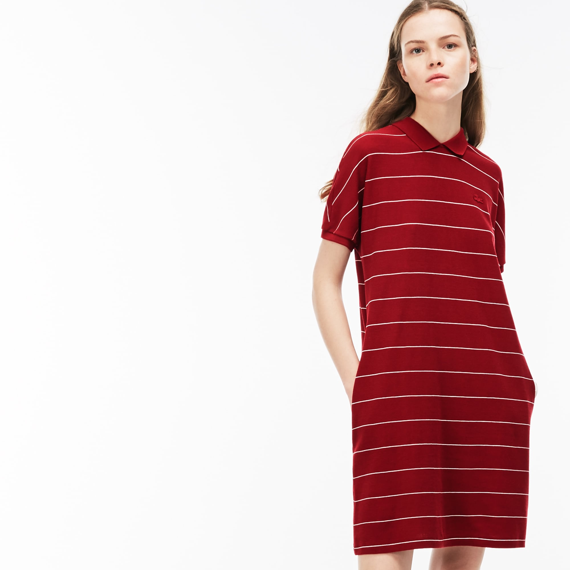Women's Striped Honeycomb Cotton Polo Dress