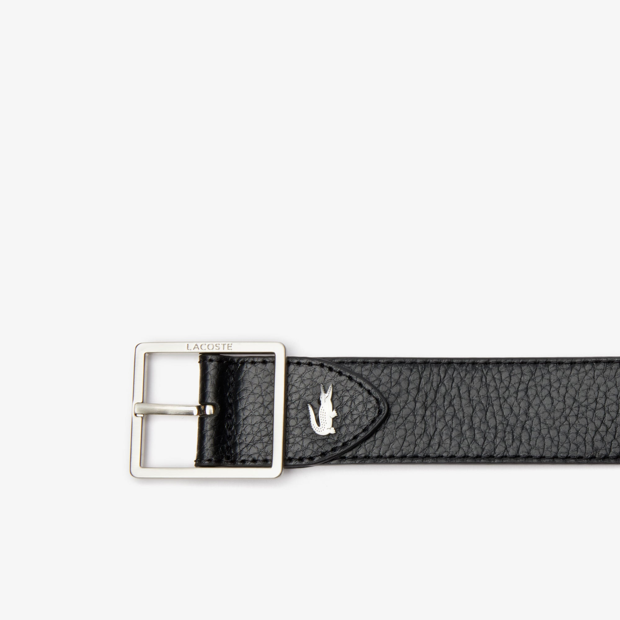 Men's Lacoste Engraved Buckle Reversible Grained Leather Belt
